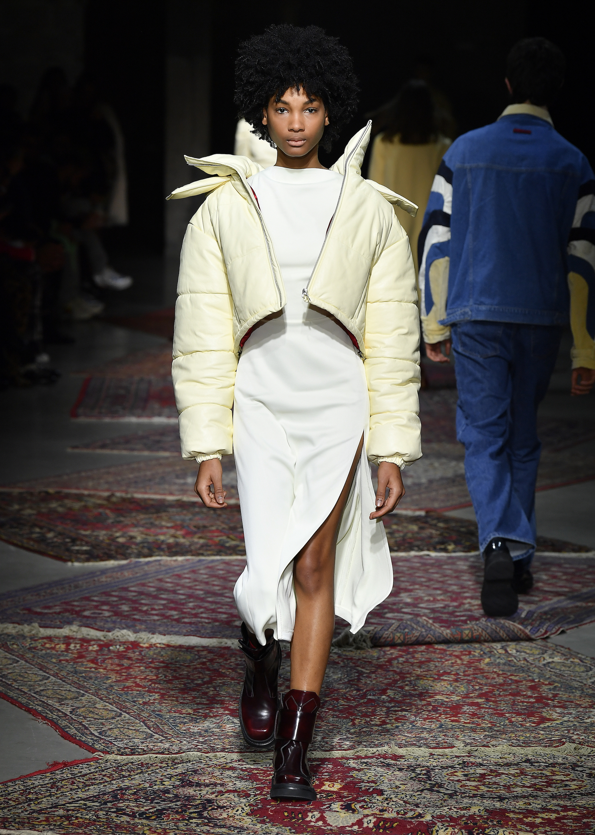 A model walks the runway during Les Benjamins Menswear Fall/Winter 2020-2021 show as part of Paris Fashion Week on January 17, 2020 in Paris, France - yellow cropped puffer