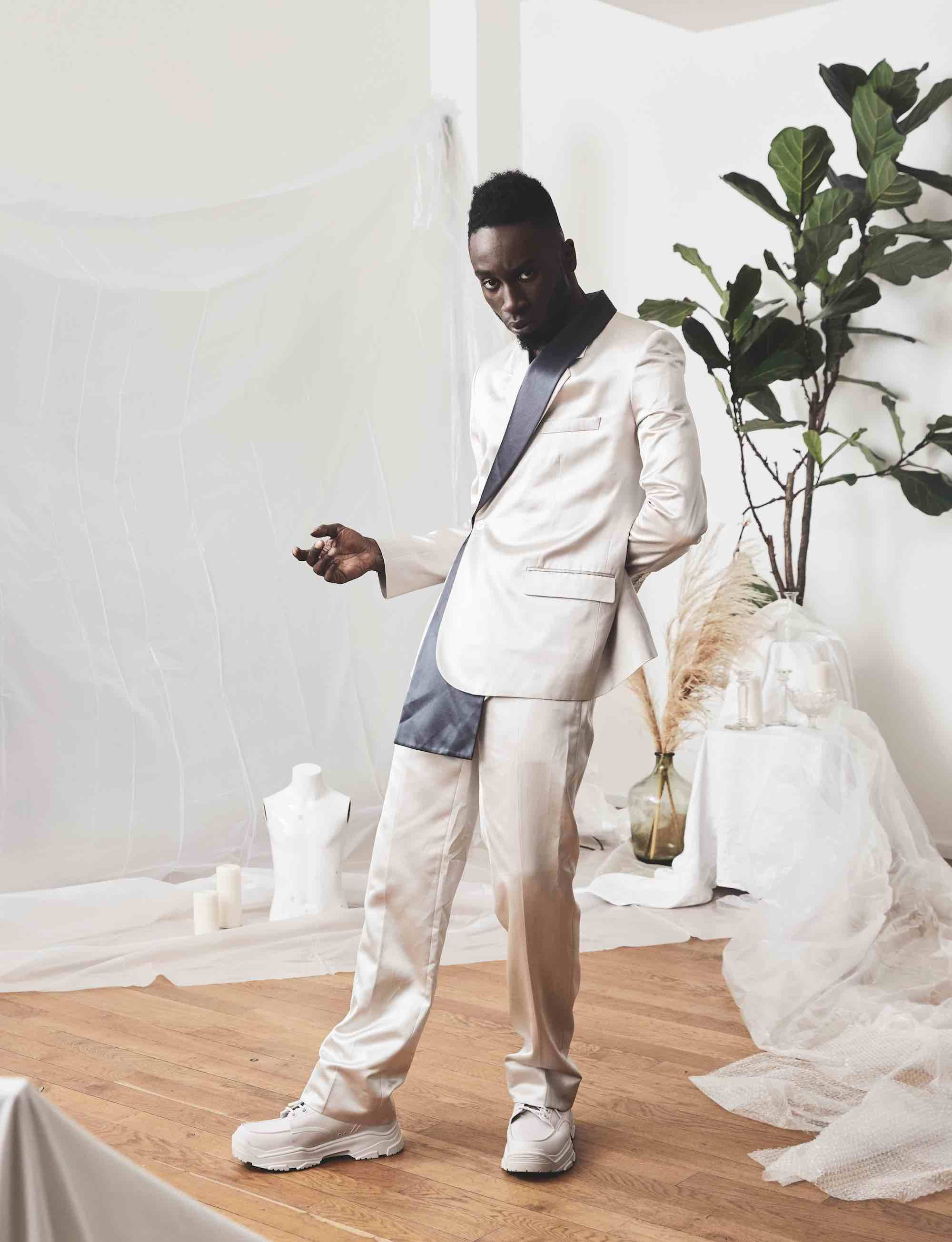 Kojey Radical for the Winter issue of Wonderland wearing white