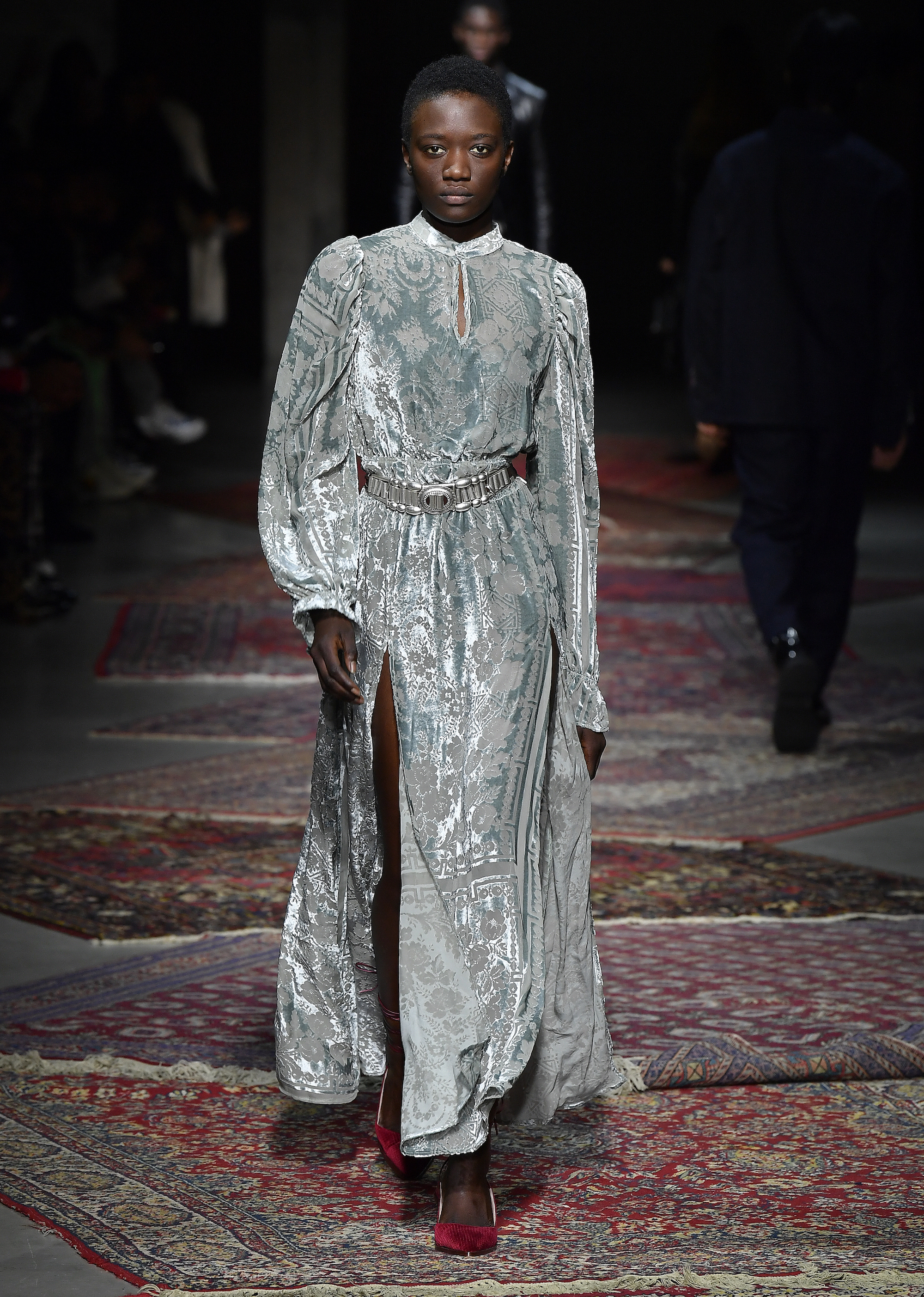 A model walks the runway during Les Benjamins Menswear Fall/Winter 2020-2021 show as part of Paris Fashion Week on January 17, 2020 in Paris, France - velvet dress