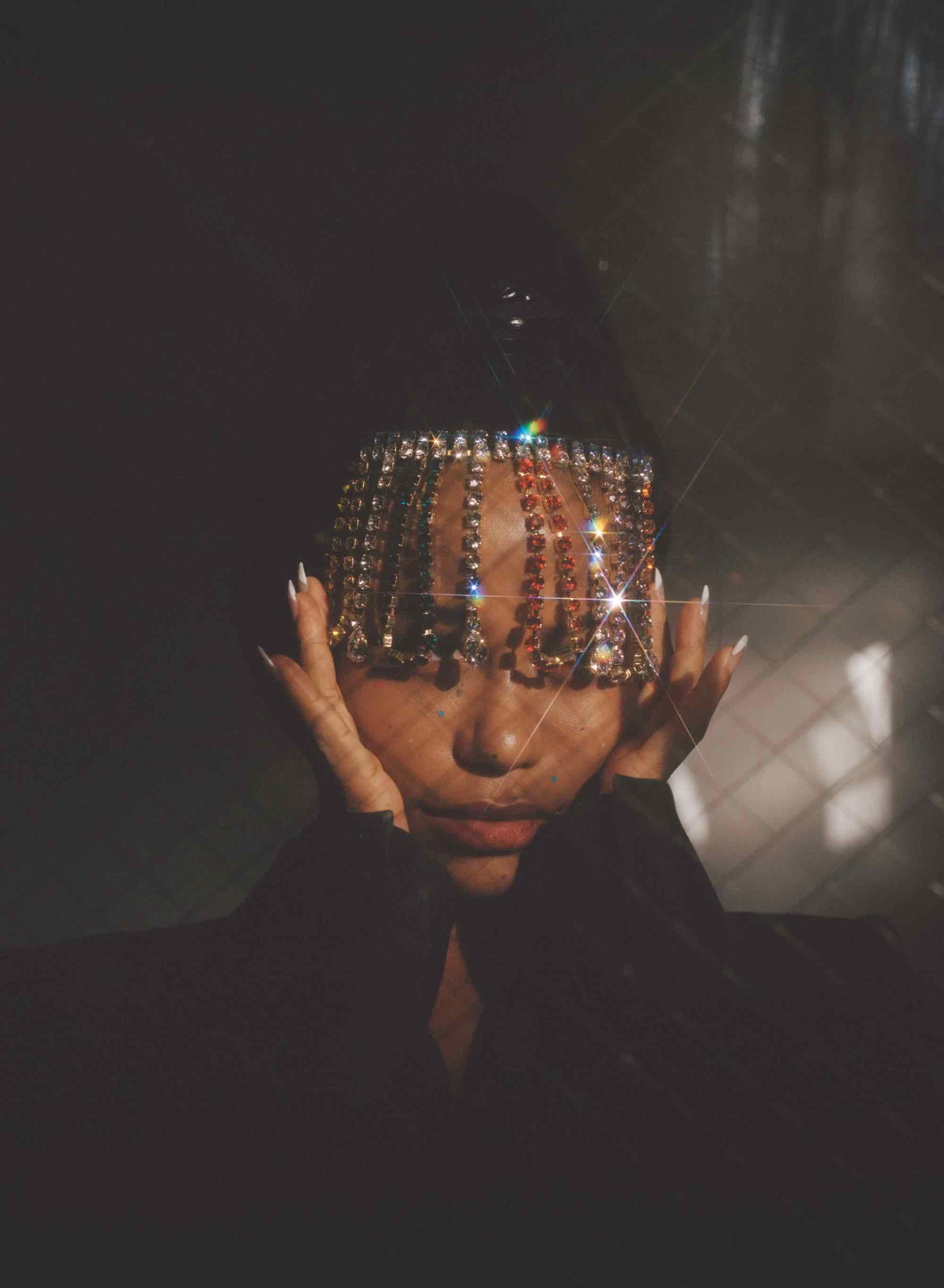 Zola actress Taylour Paige in the Winter issue of Wonderland headdress