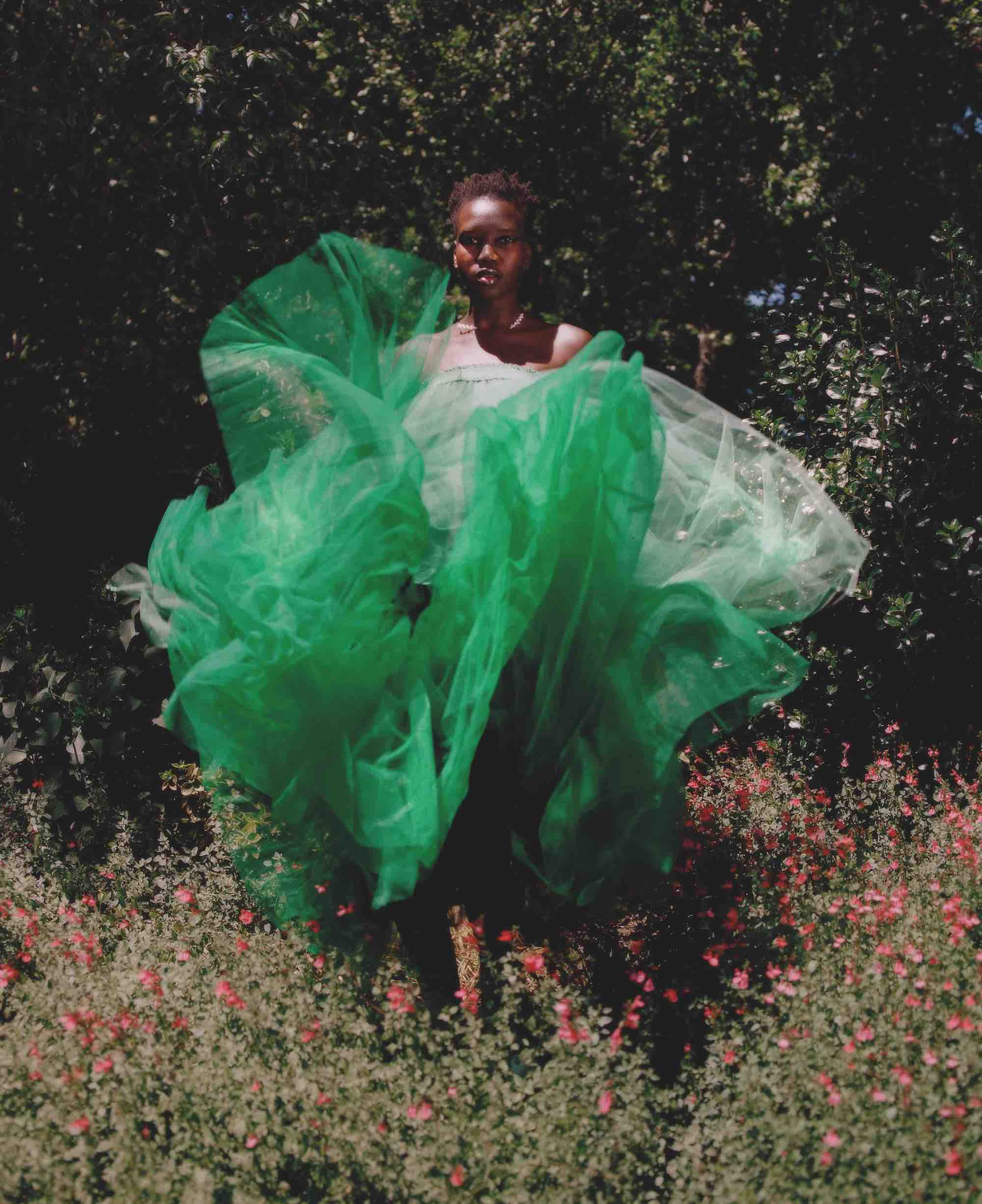 Bathe My Mind In Green fashion editorial from the Winter issue green tulle skirt