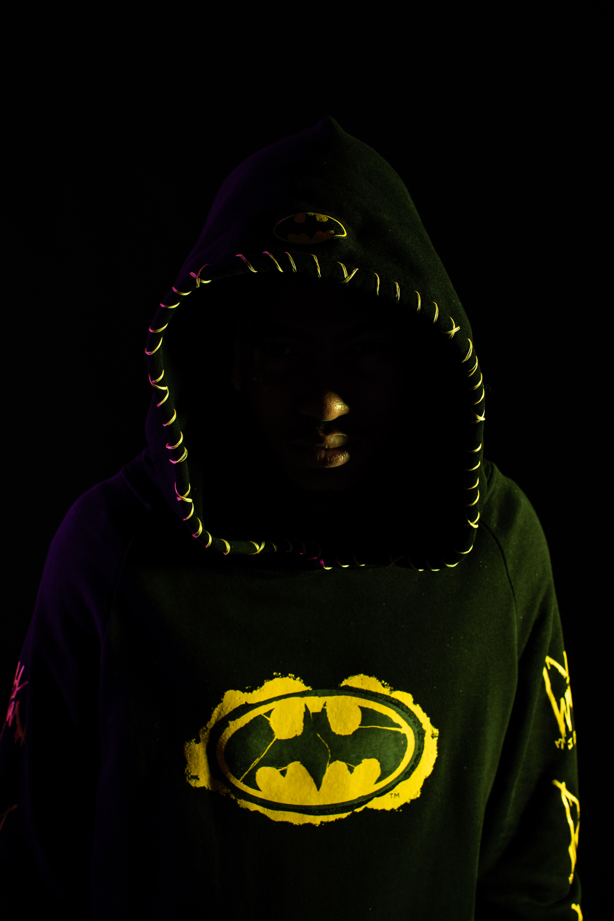 Marc Jacques Burton x Batman capsule collection hoodie closeup