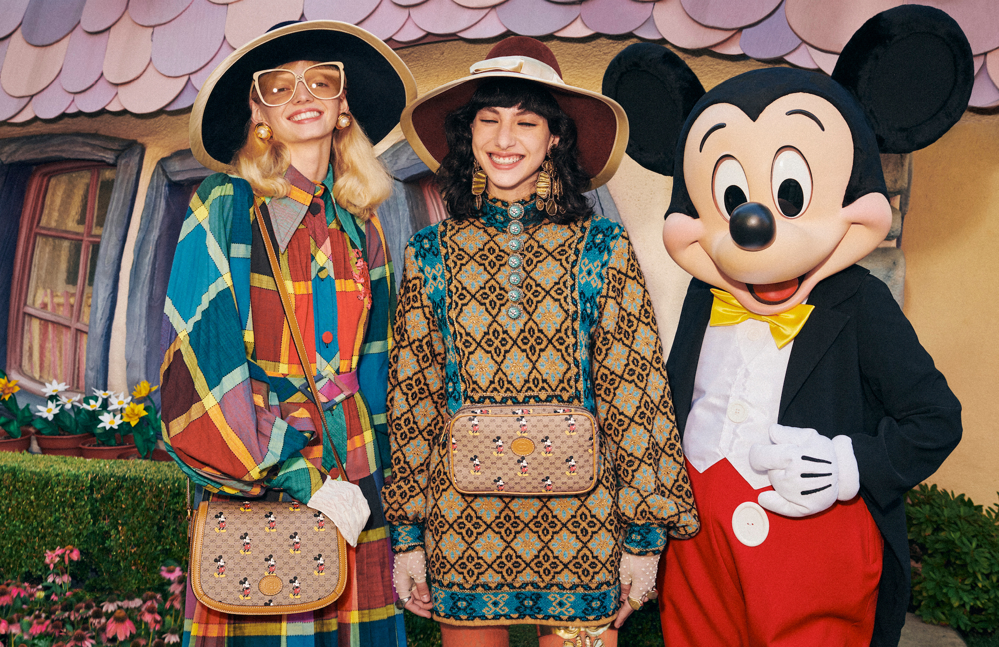 Gucci x Mickey Mouse Chinese New year collection posing