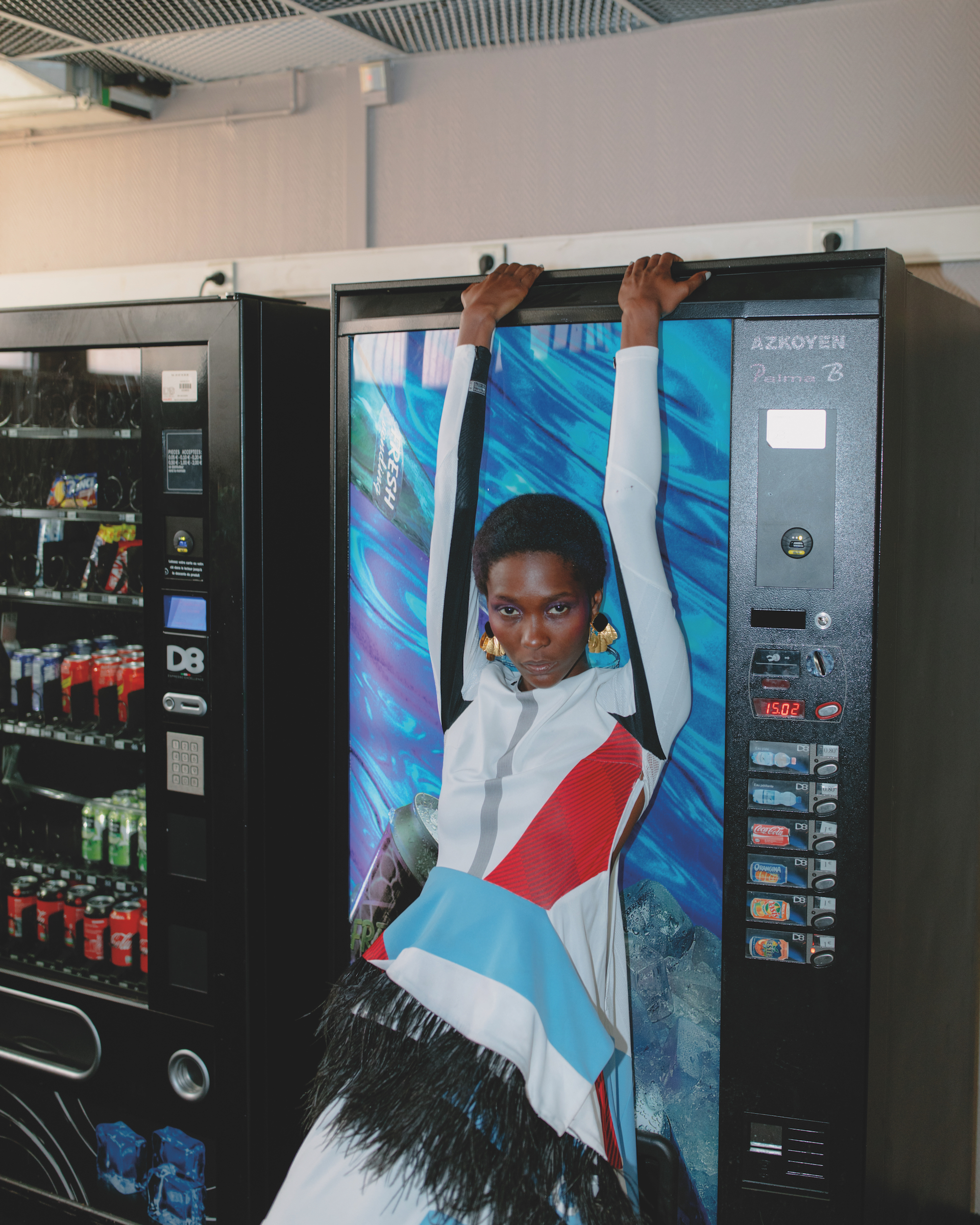Spin around it's your white light fashion editorial from the Winter issue pepsi machine