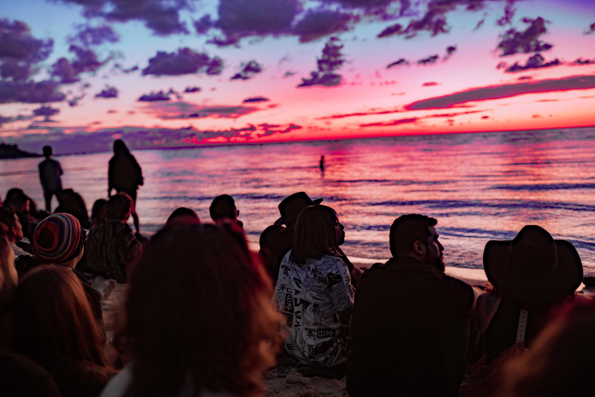 Make love festival in Miami sunset