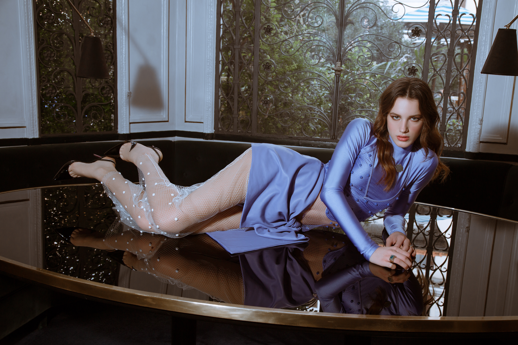 Roman holiday fashion editorial lilac lounging