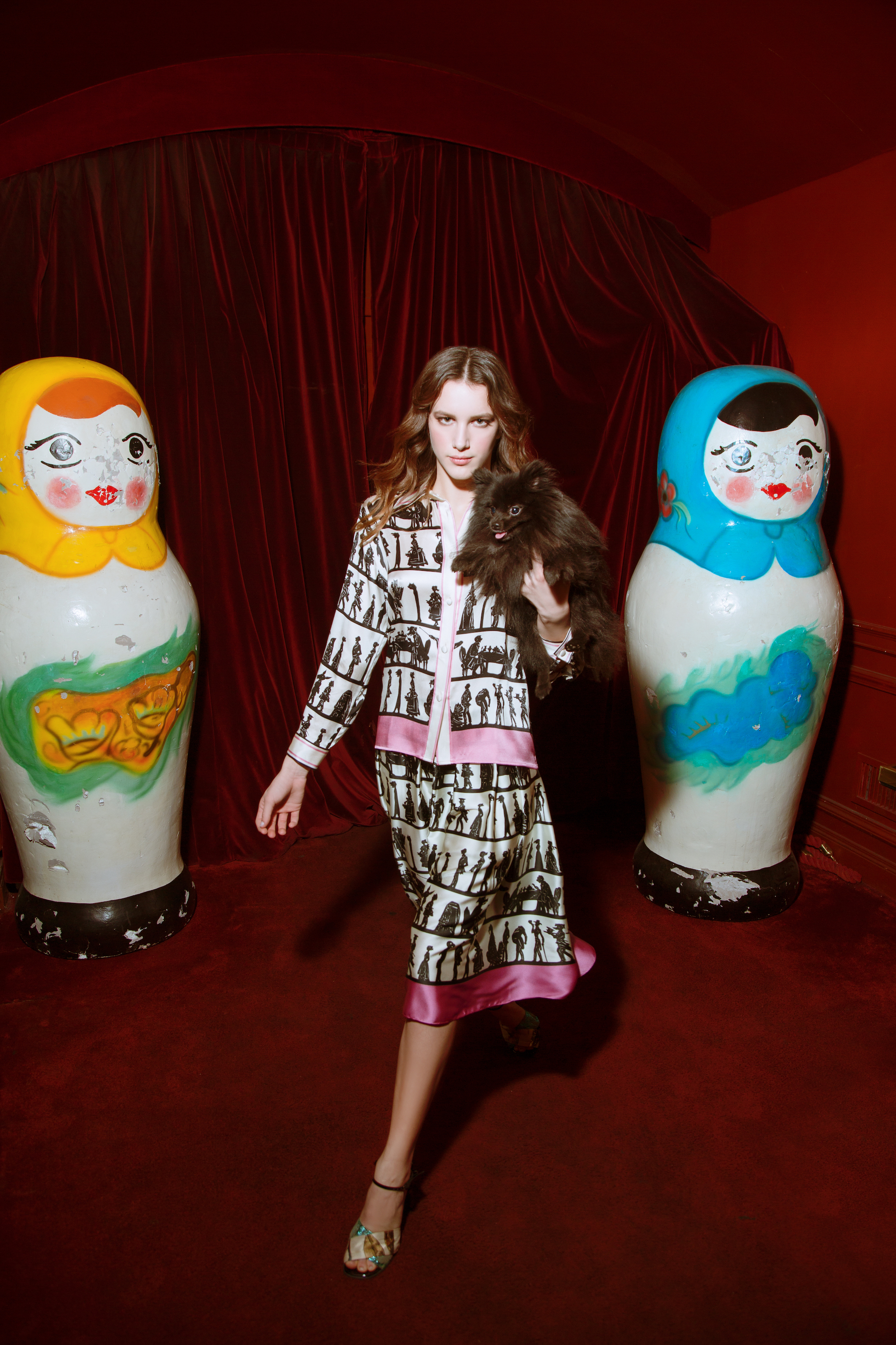Roman holiday fashion editorial russian doll