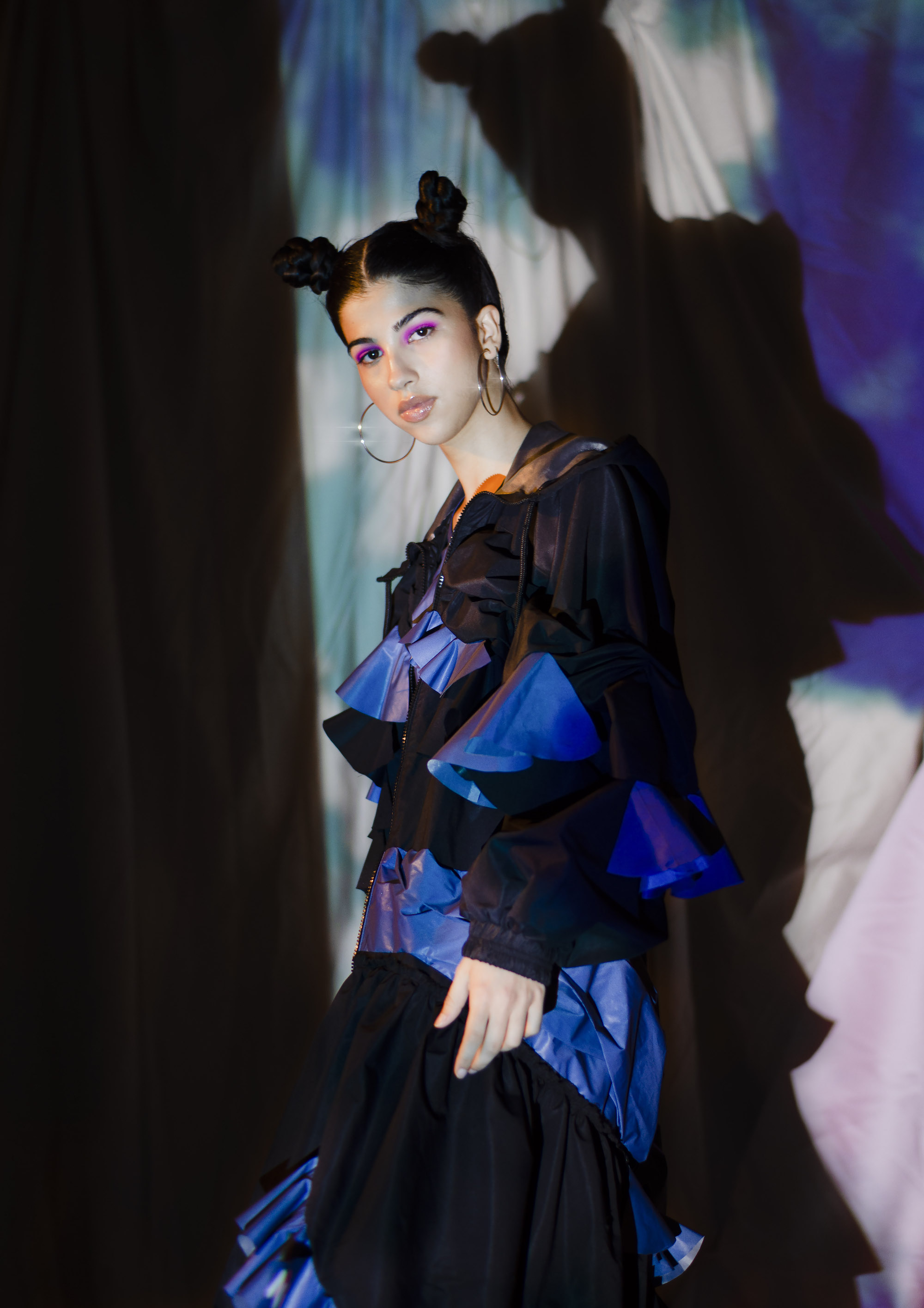 NICCE collaborates with Lydia Bolton for sustainable SS20 collection black ruffle jacket