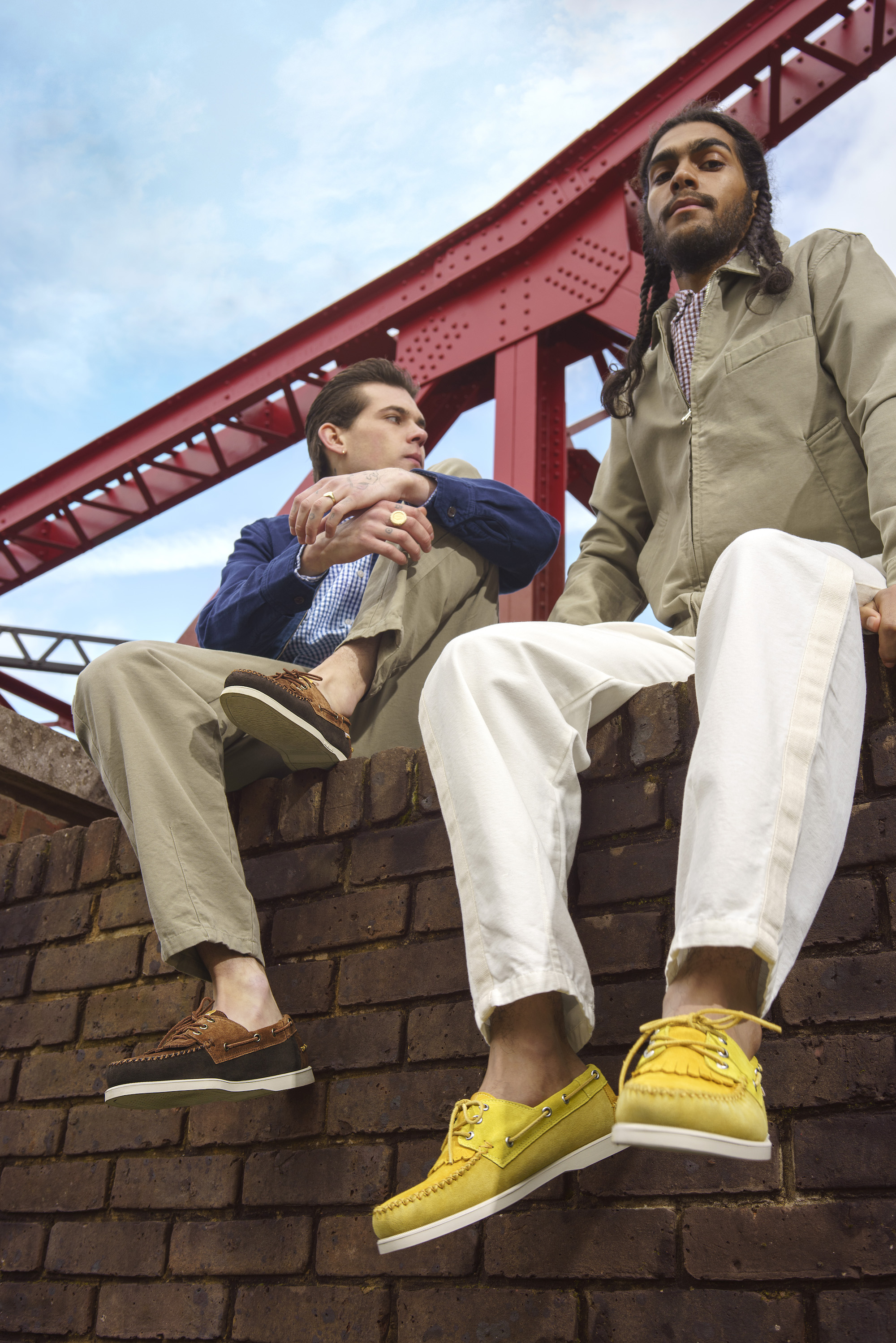 Universal works x Sebago collaboration for SS20 yellow and brown portland boat shoes