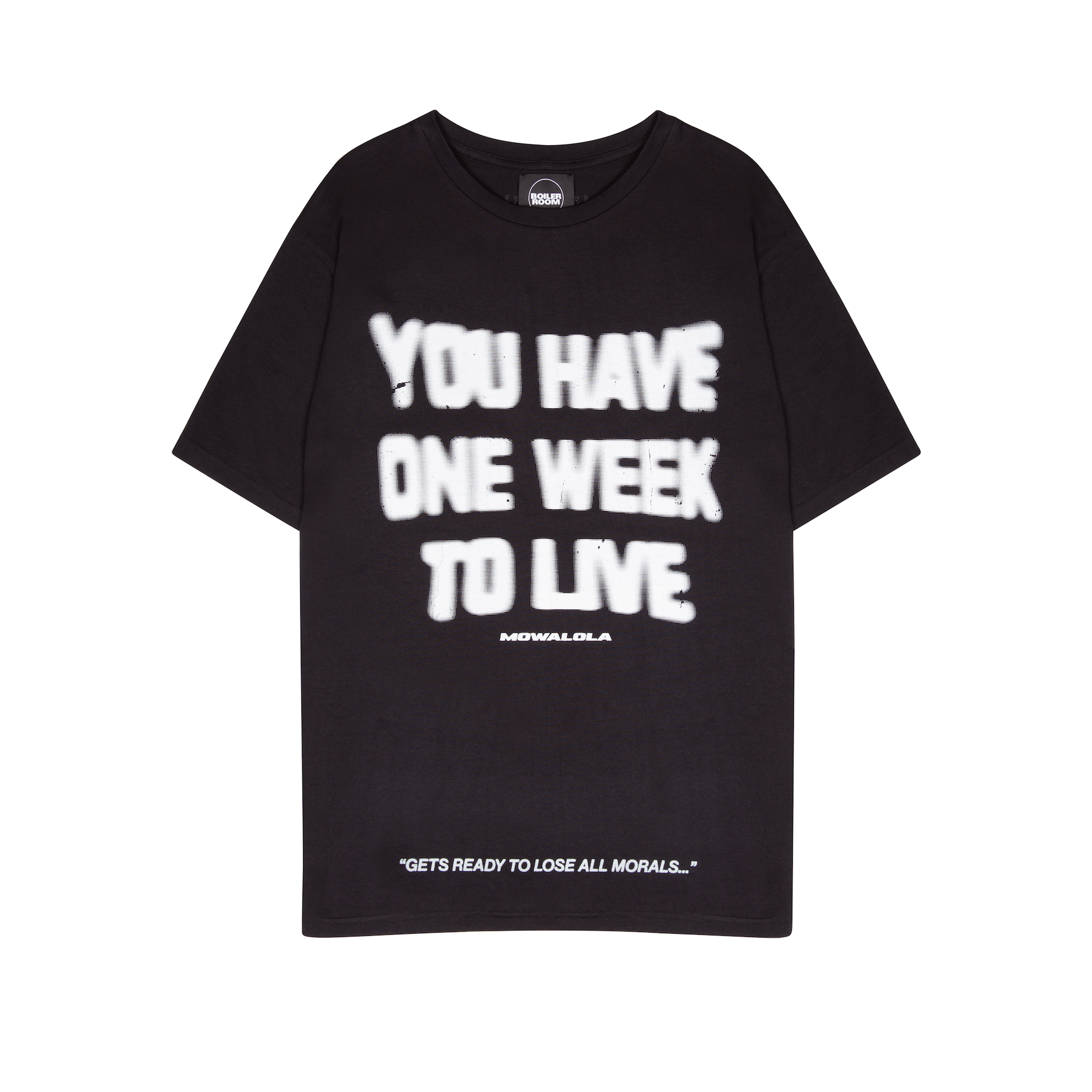 Boiler Room RTW collection Mowalola black t-shirt