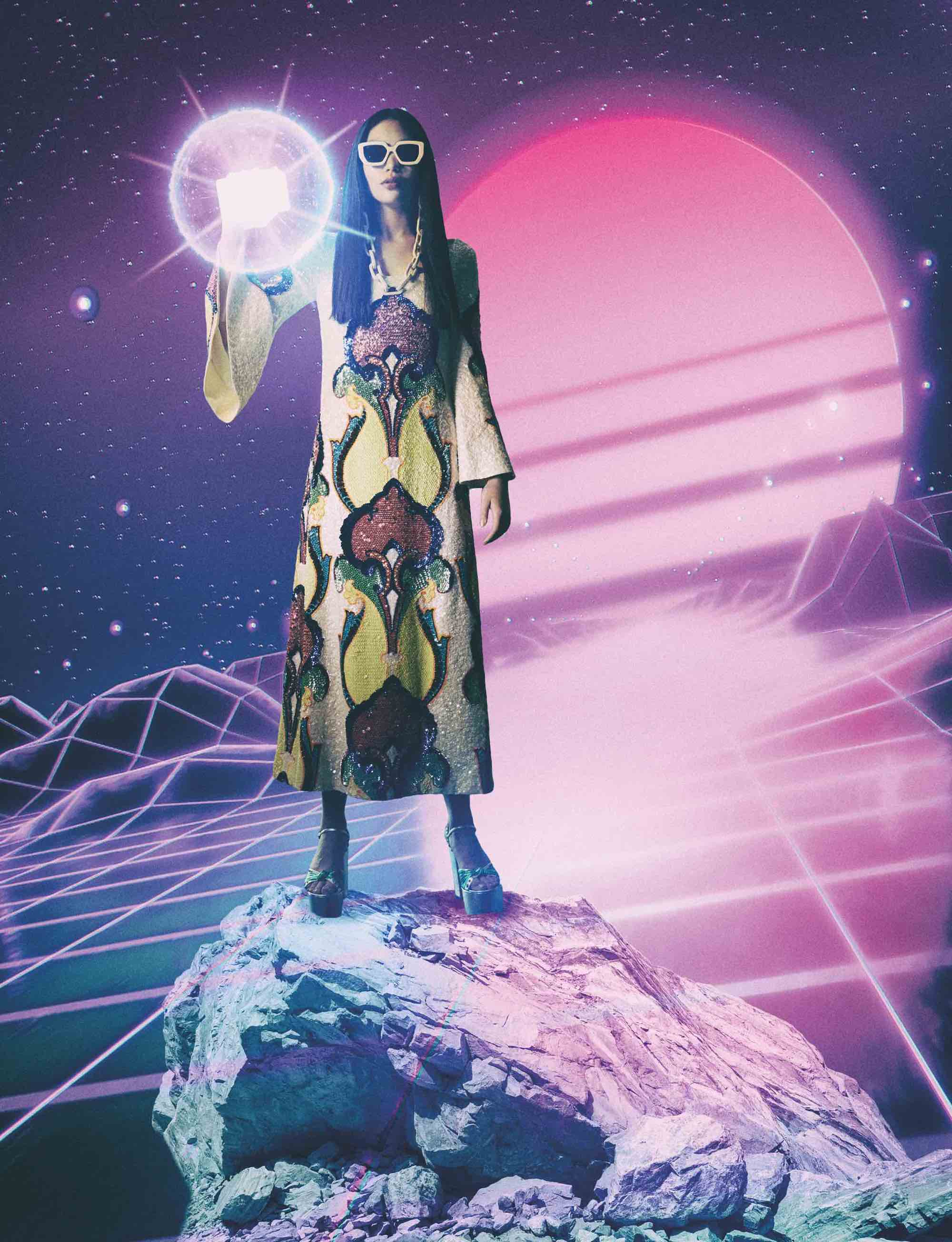 Gucci fashion editorial Spring issue 60s style dress