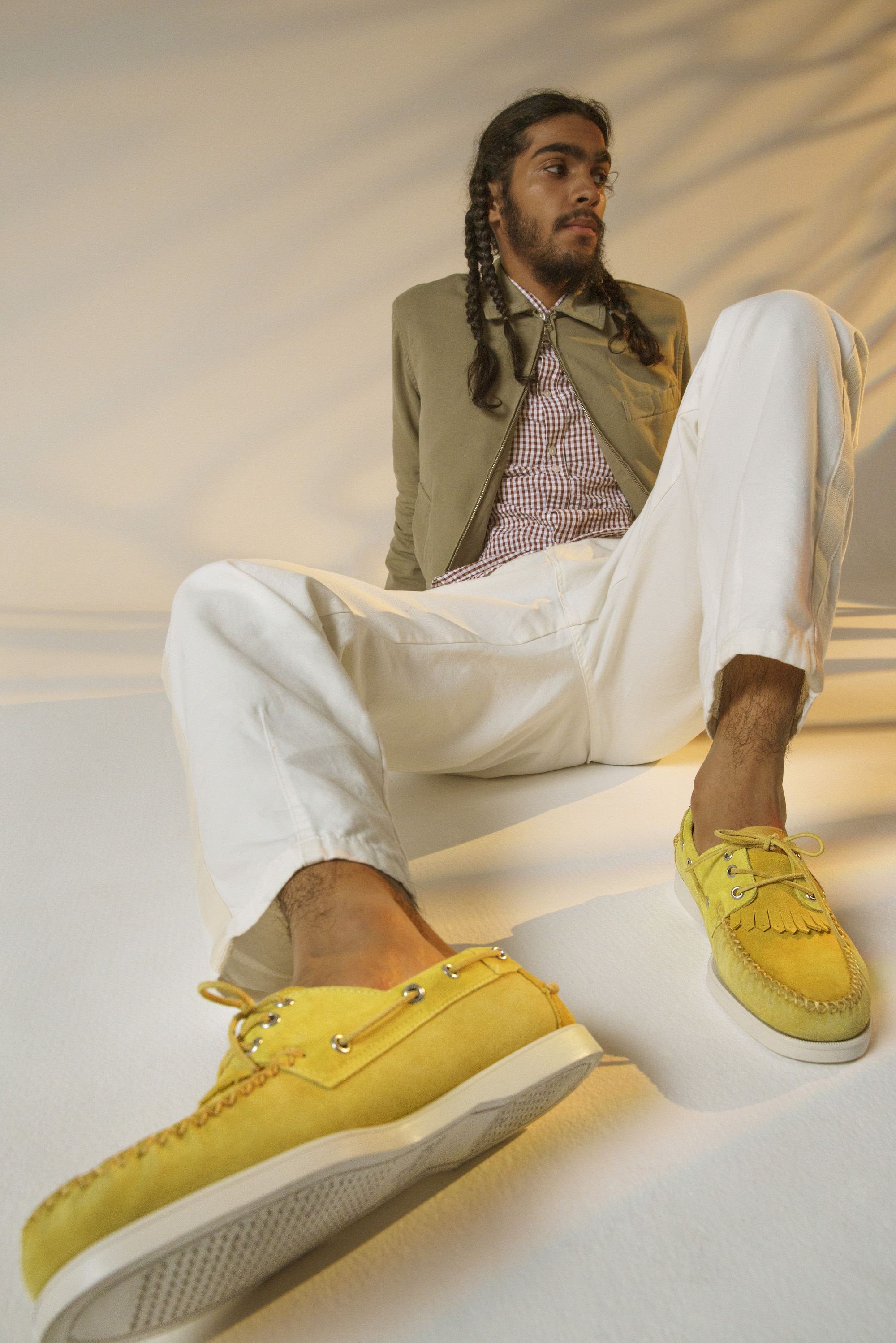 Universal x sabago collection for SS20 yellow portland boat shoes