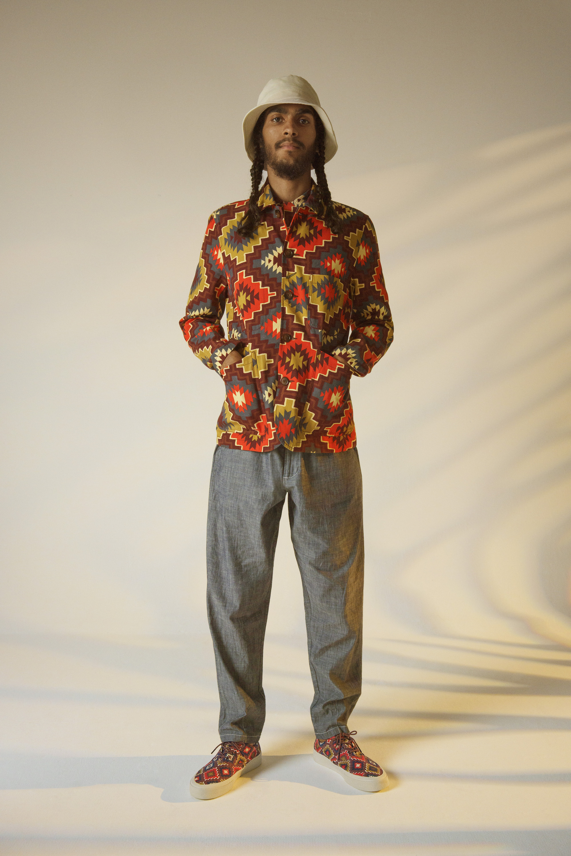 Universal work x sabago collection for SS20 Ikat dye shirt and shoes