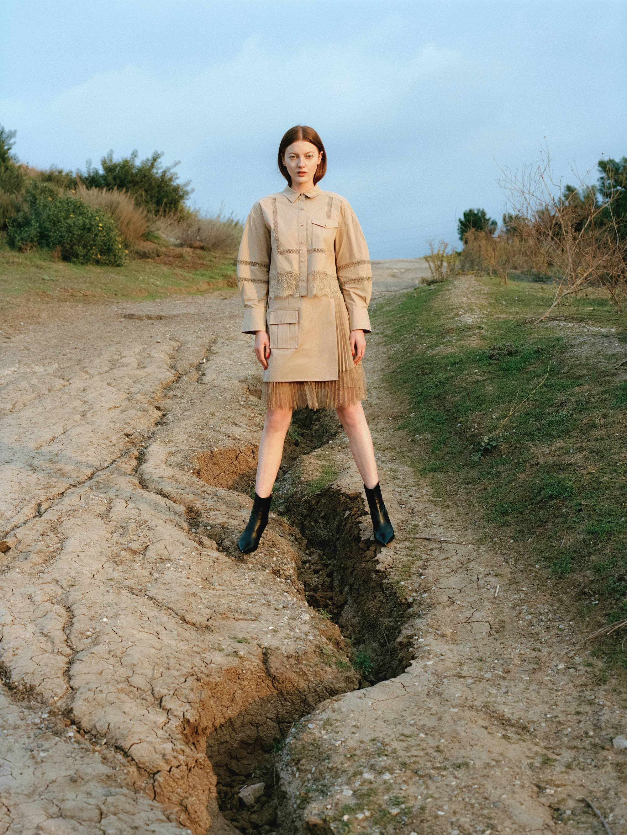 Self-Portrait for Wonderland Spring issue trench dress