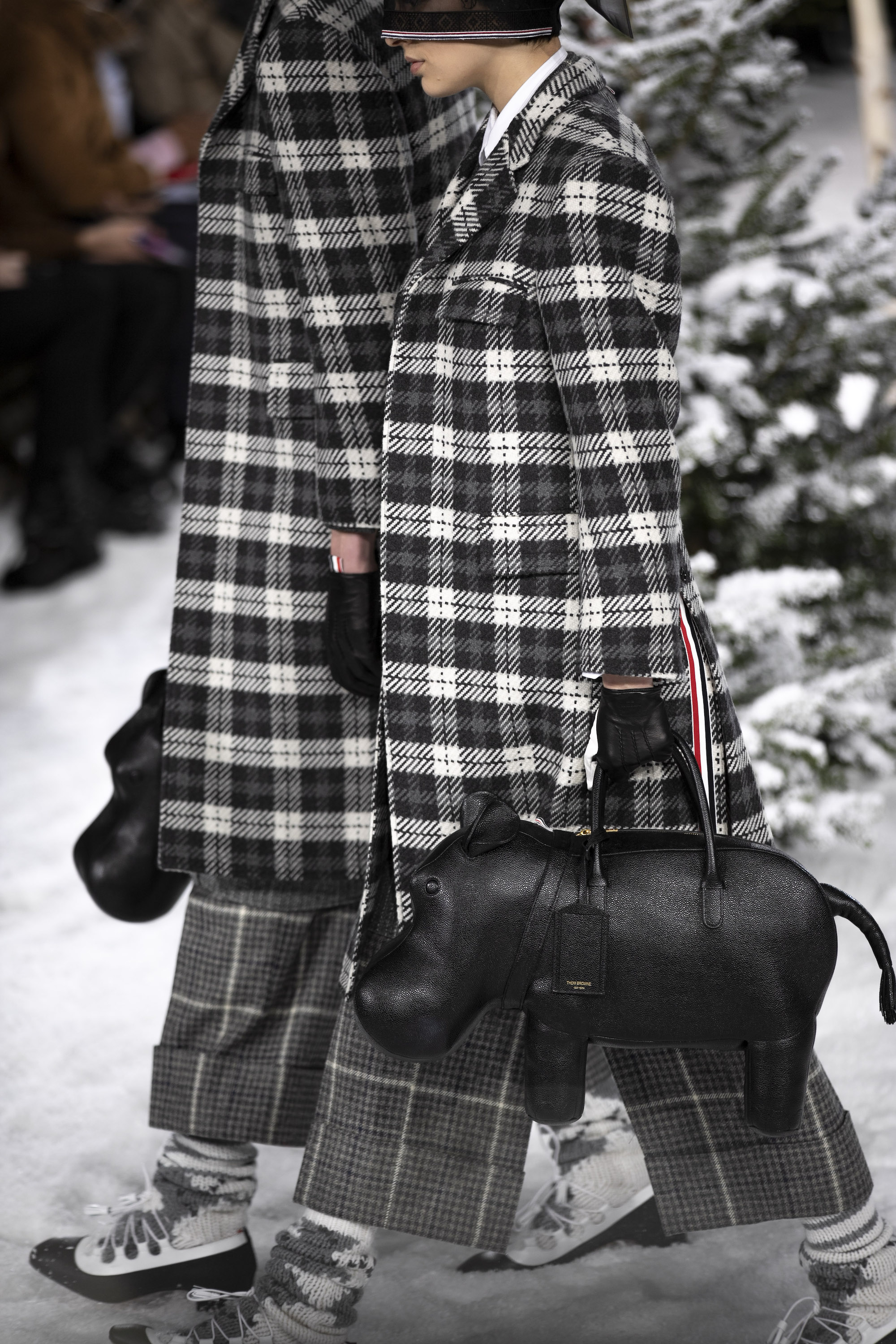 Thom Browne AW20 PFW Collection checkered coat