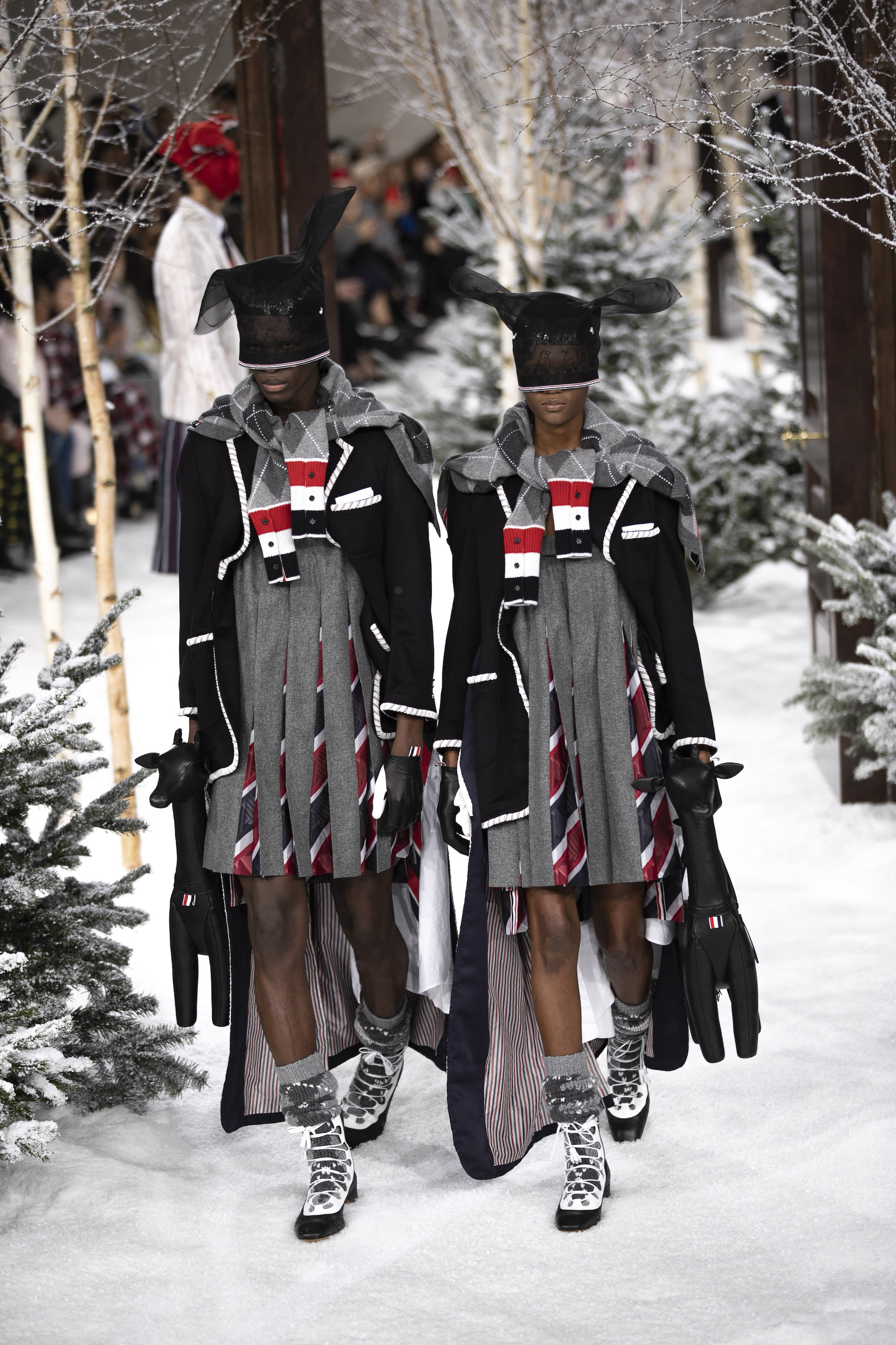 Thom Browne AW20 PFW striped dress and matching bags