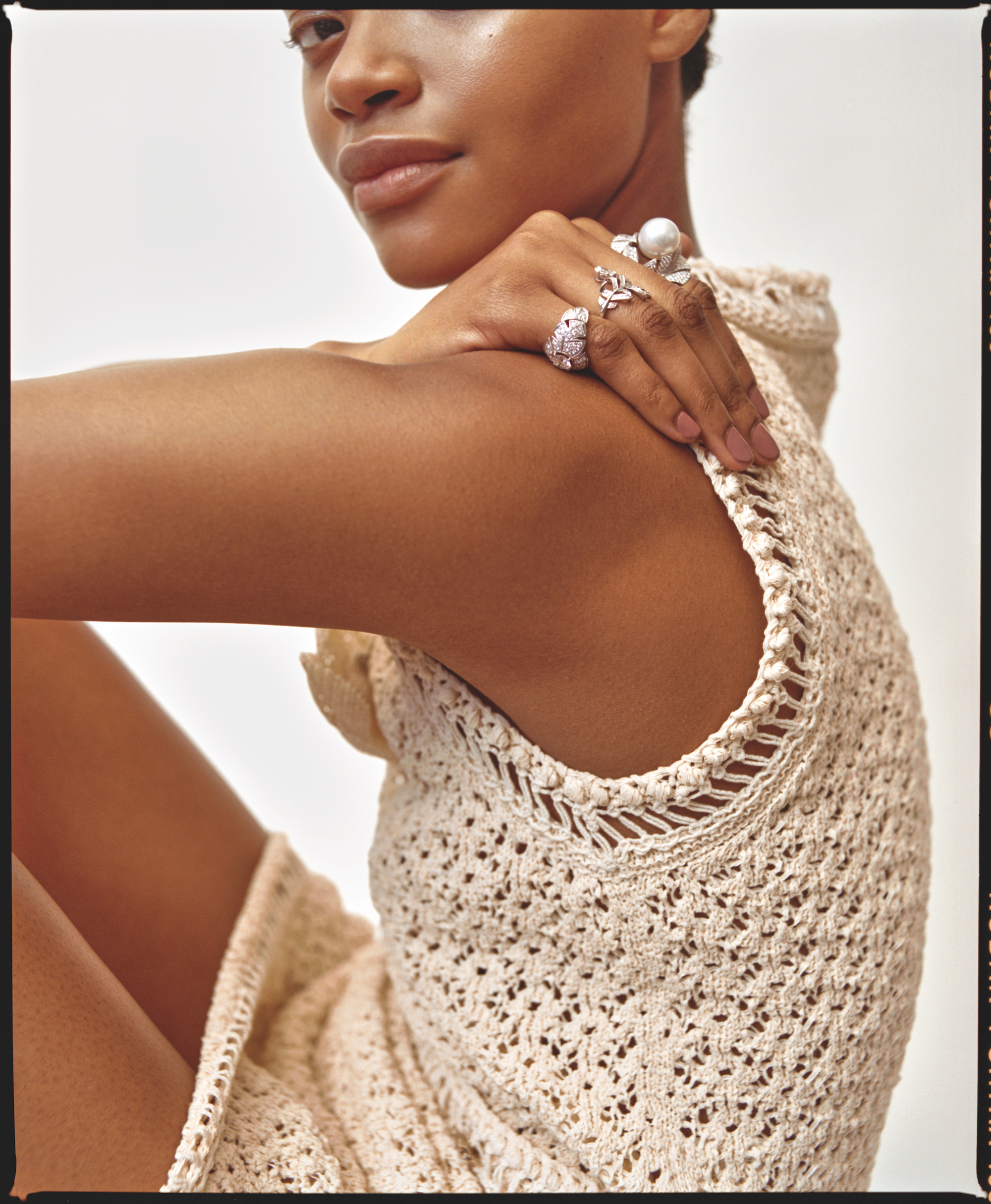 Chanel Beauty features in our Spring issue knitted simple top with two silver rings
