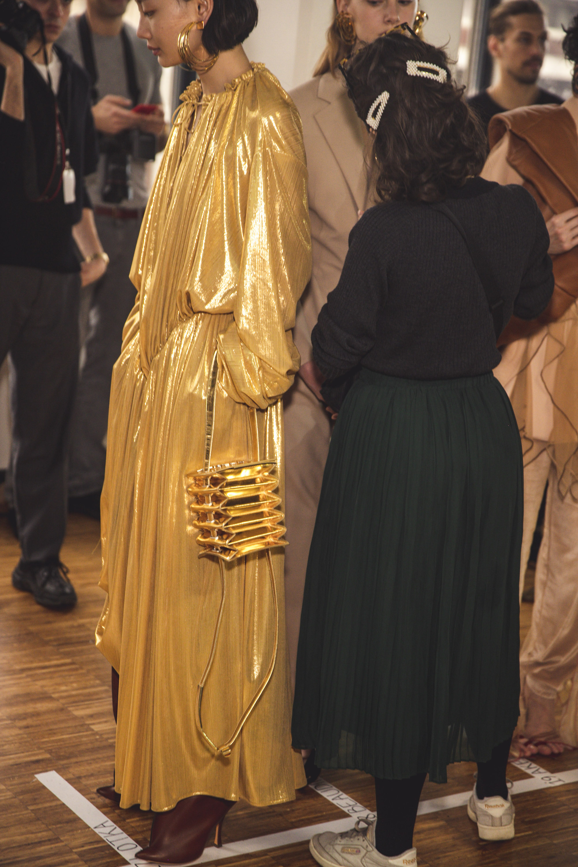 Y Project AW20 PFW Gold Dress and bag