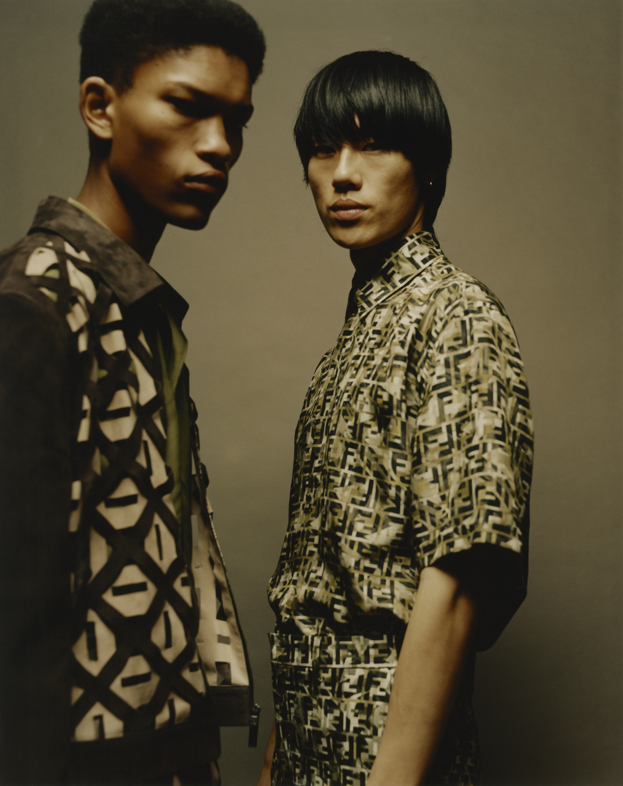 Fendi fashion editorial taken from our Spring issue two boys wearing fendi print shirts