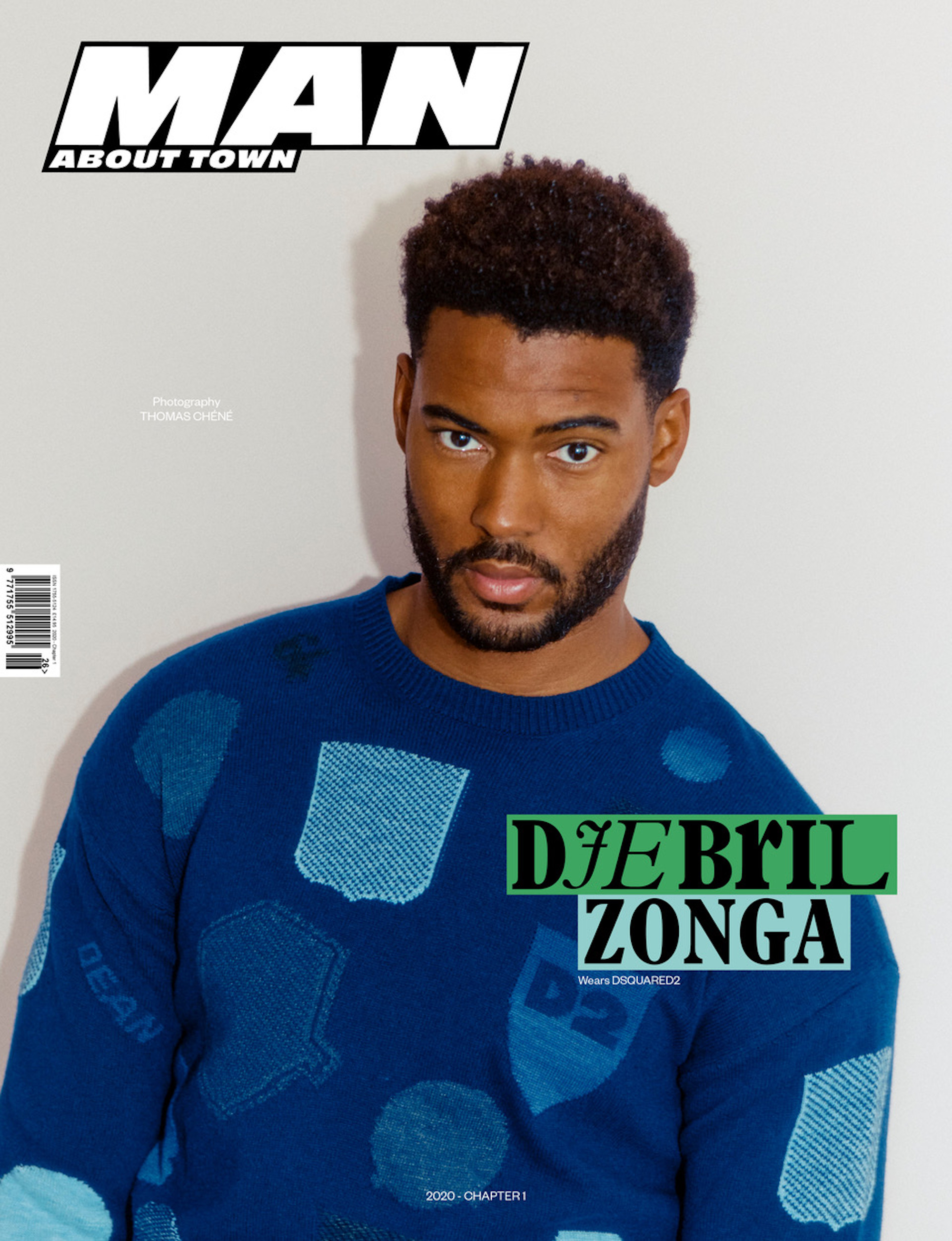 Djebril Zonga wears DSquared2 for the cover of Man About Town: 2020, Chapter I.