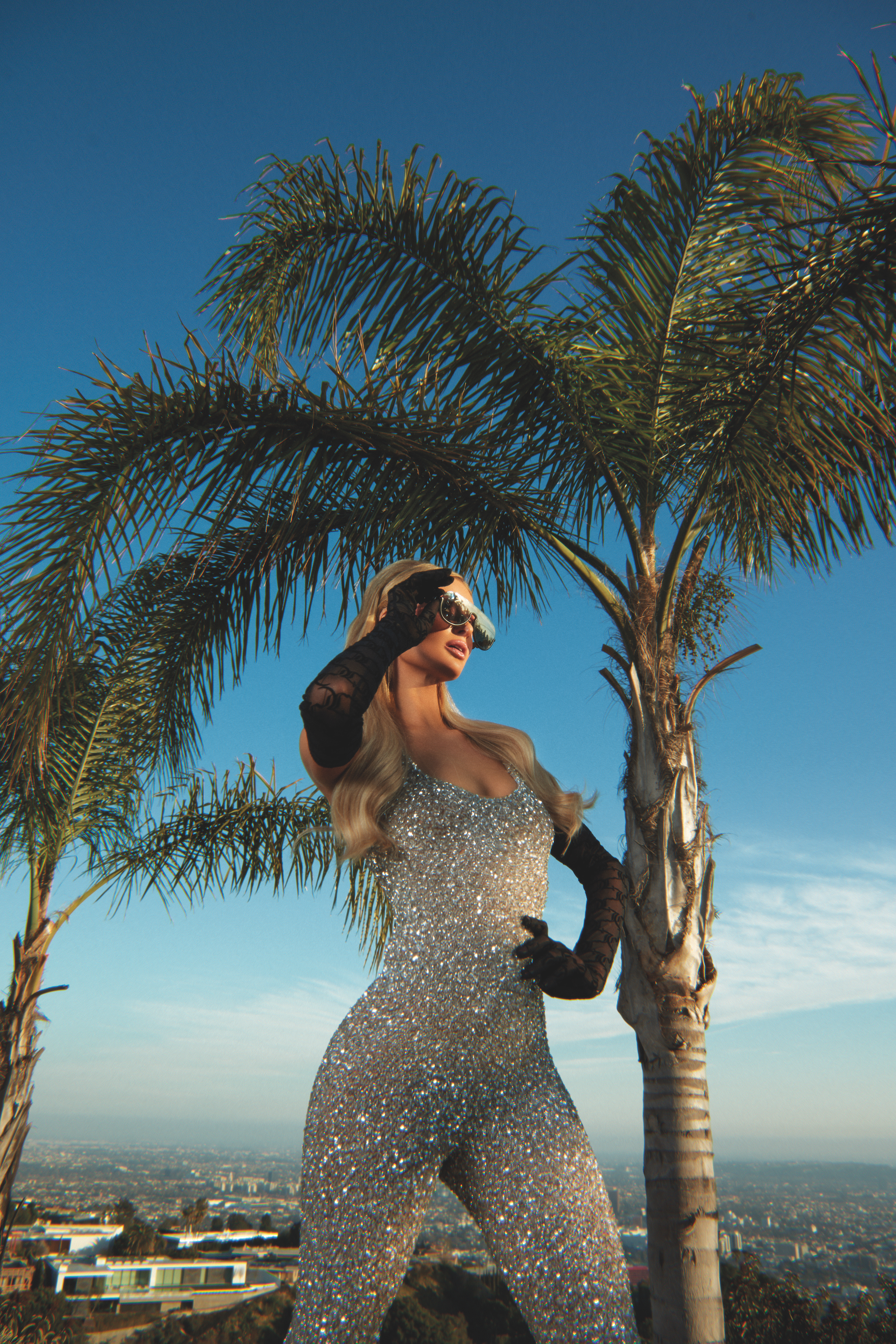 Paris Hilton interview in the Spring/Summer 2020 issue of Rollacoaster wearing Juicy Couture palm trees