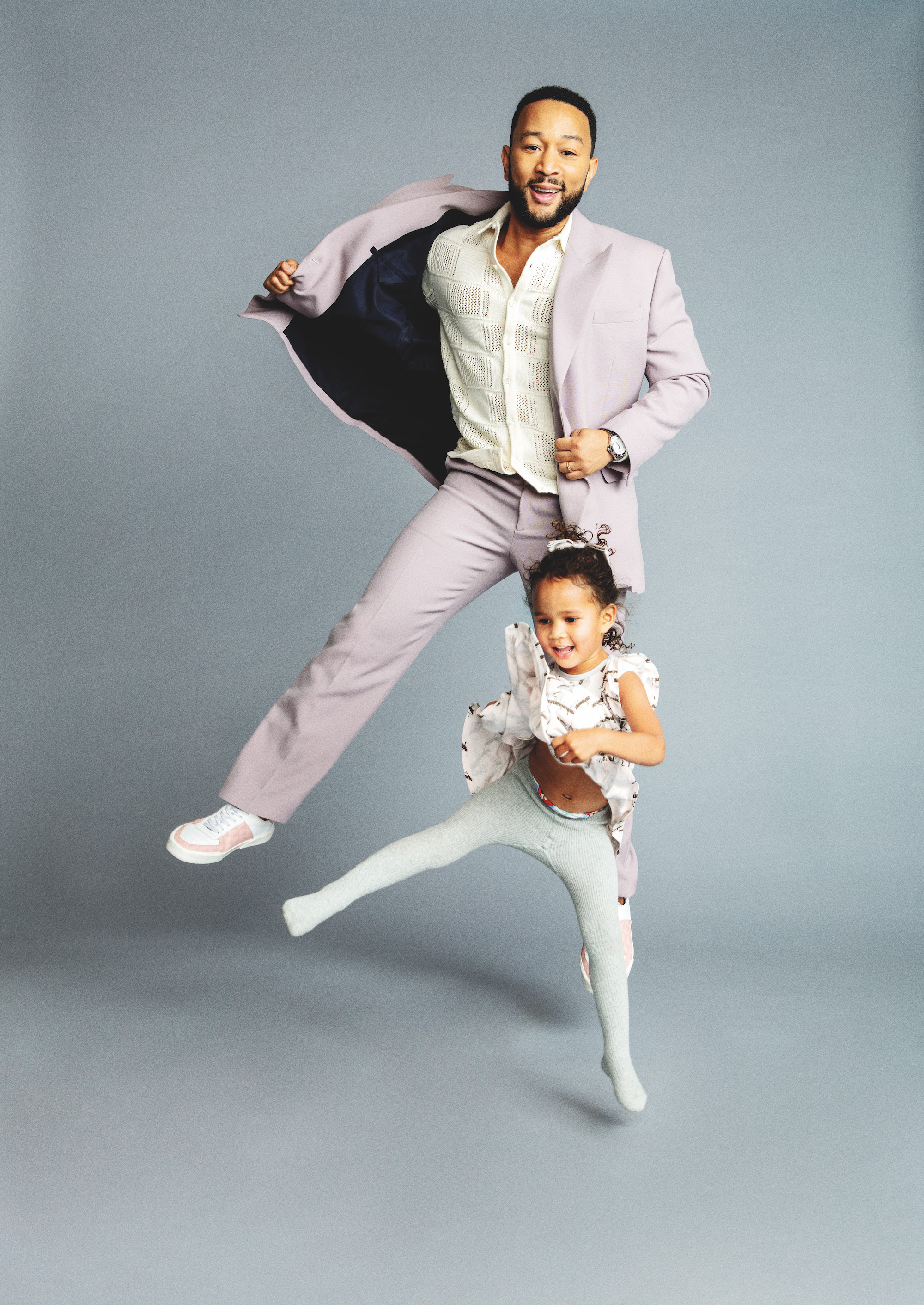 John Legend with daughter Luna Legend for Rollacoaster SS20 issue