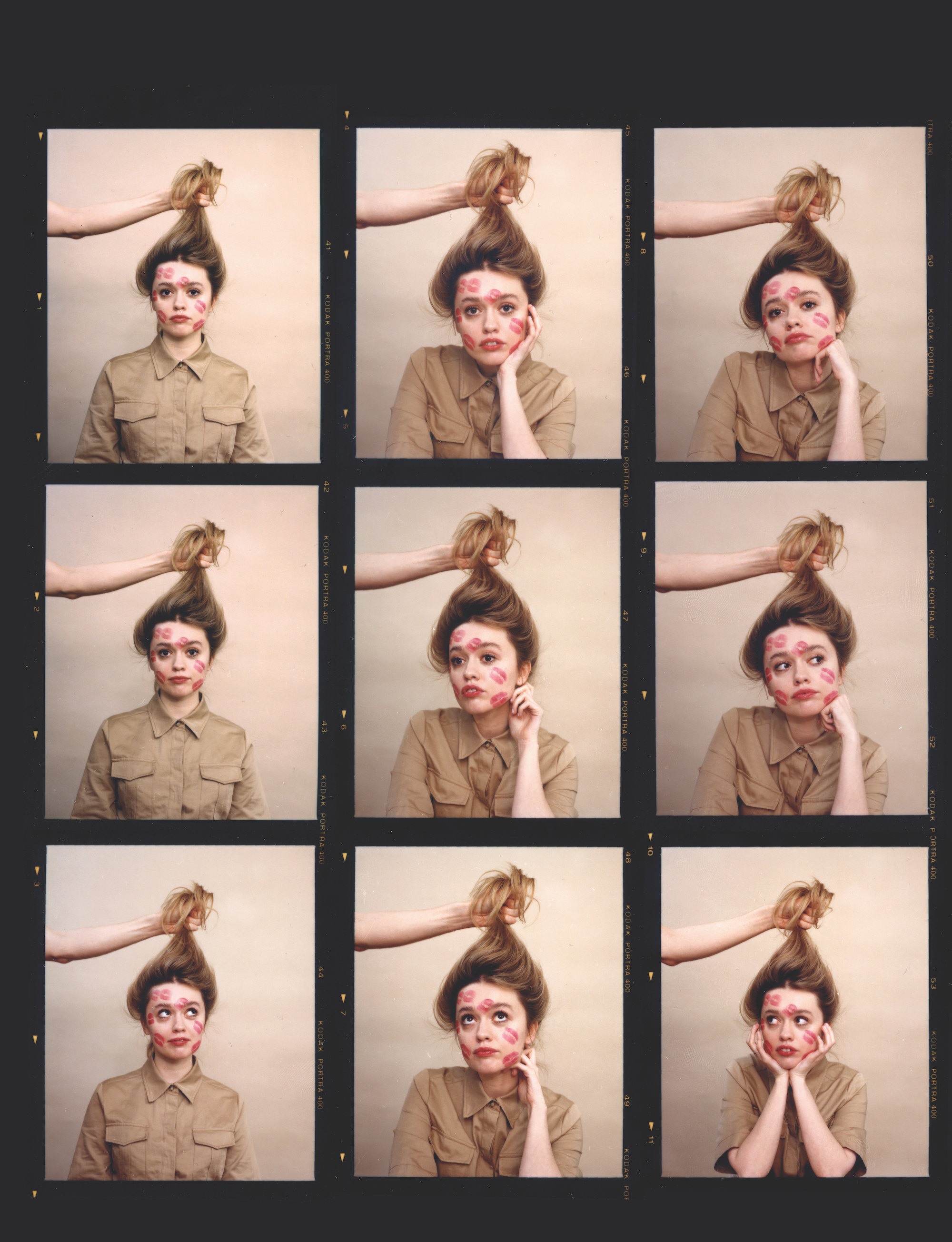 Aimee Lou Wood with various hairstyles and shirt