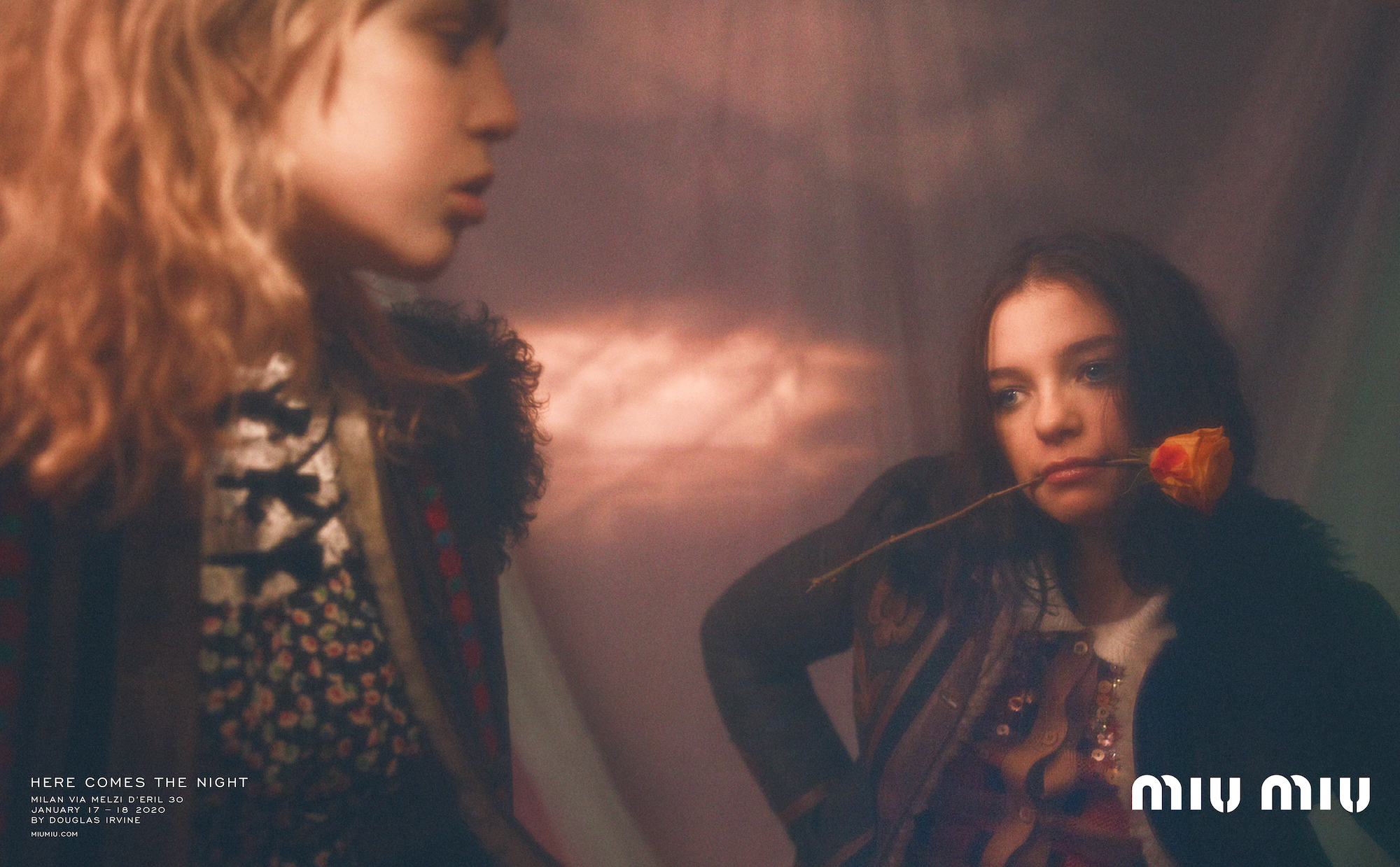 Miu Miu automne 20 campaign two girls rose in mouth