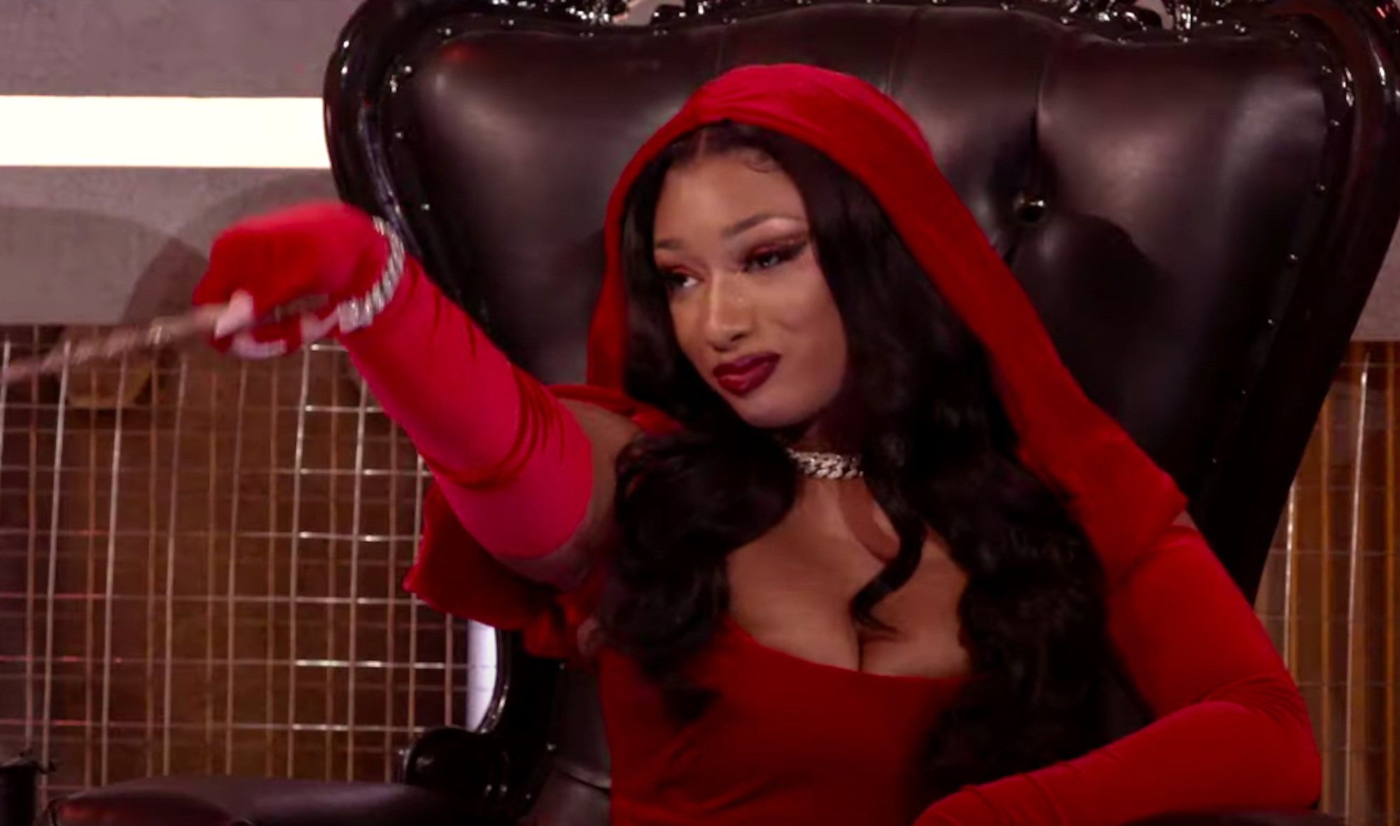 Megan Stallion riding hood in HBO's Legendary