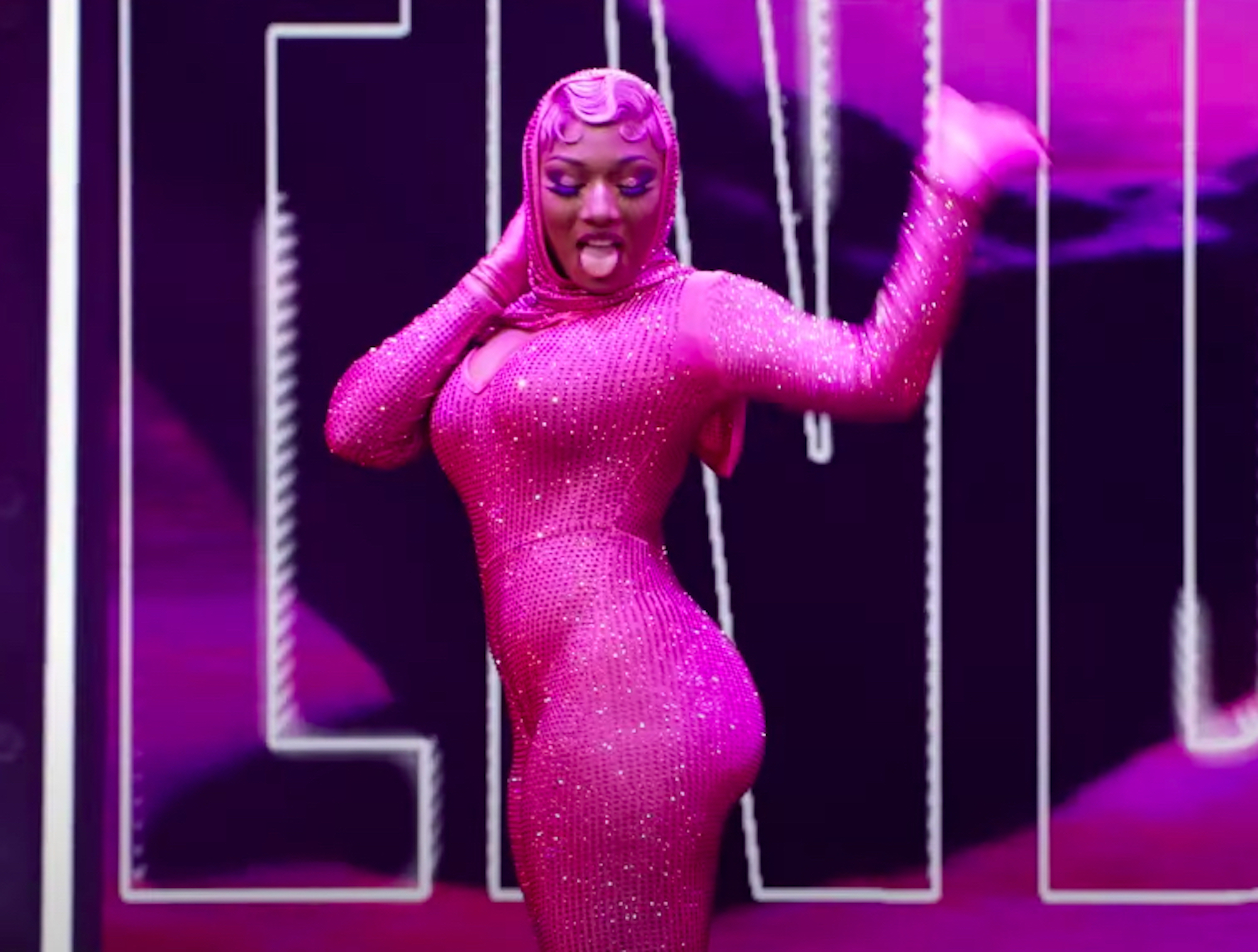 Megan Thee Stallion in pink hood for HBO Legendary