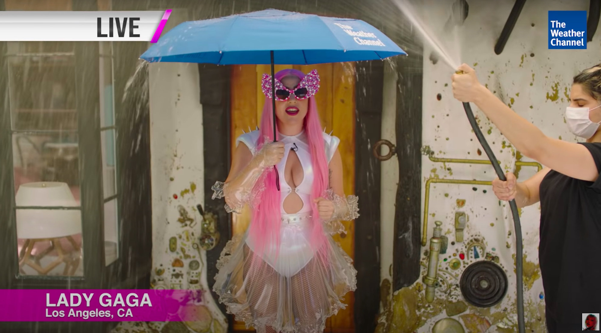 Lady Gaga and Ariana Grande are the Chromatica Weather Girls umbrella