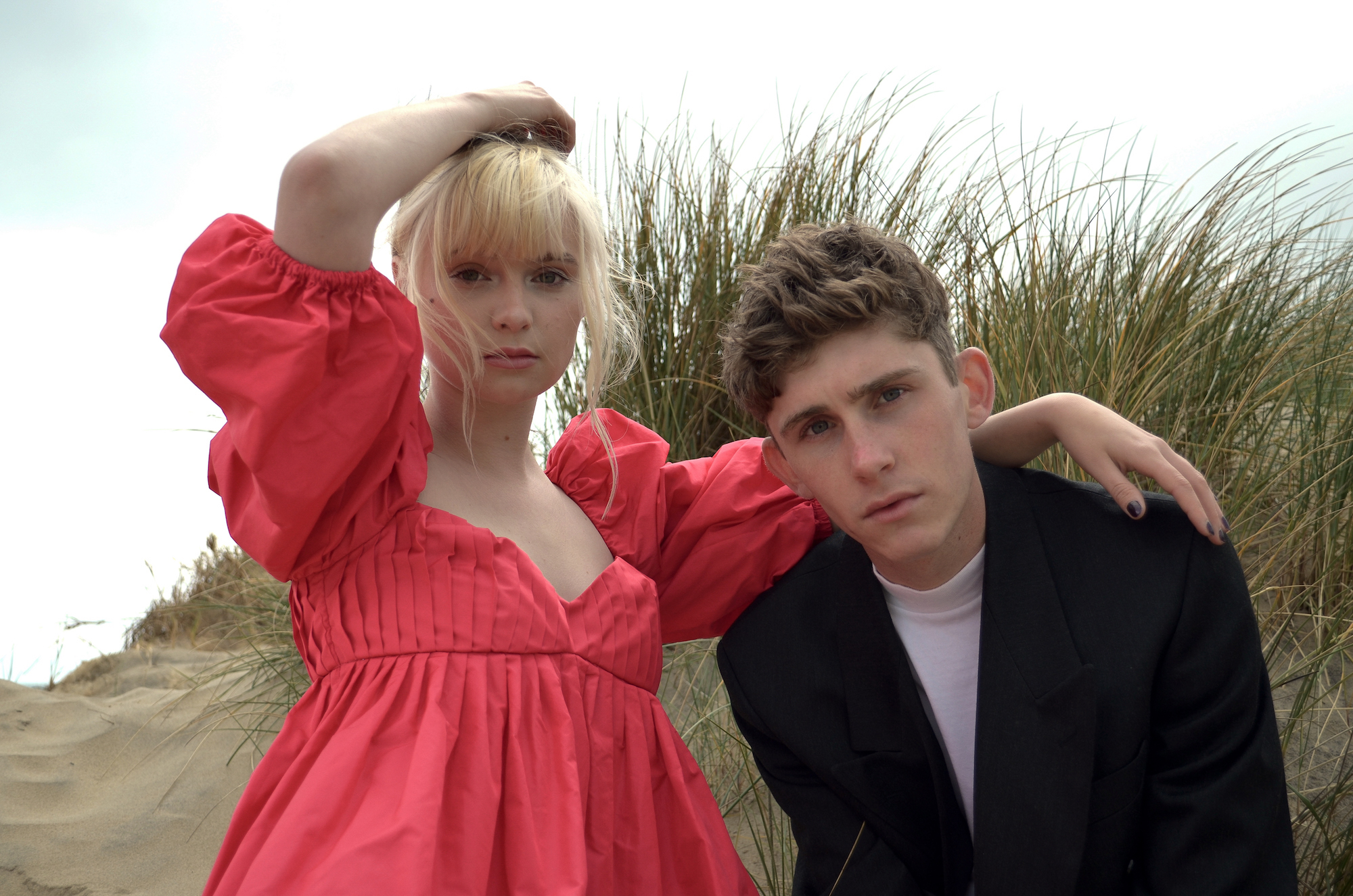 Lola Petticrew and Fionn O'Shea for Dating Amber beach close-up
