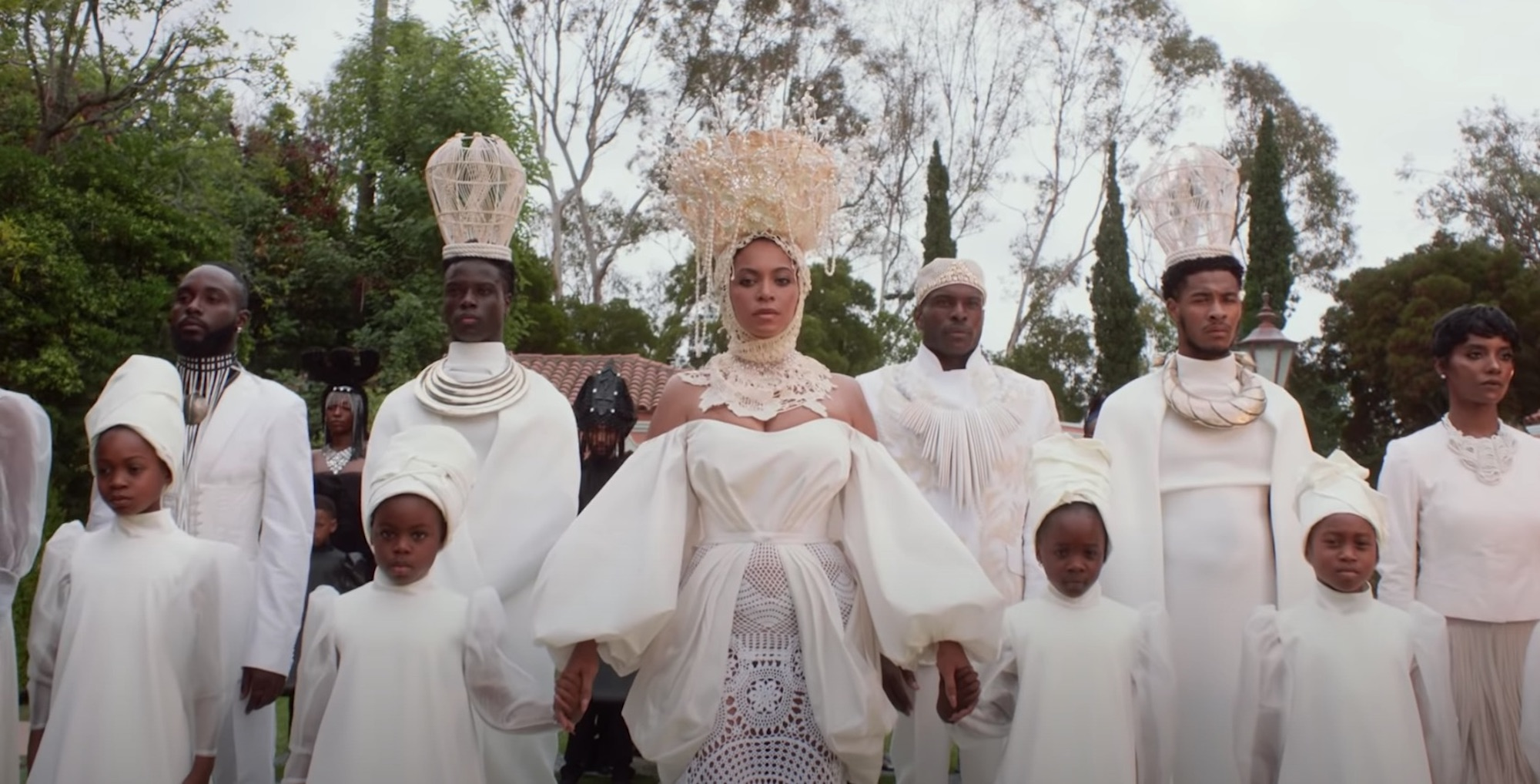 Beyonce Black is King white dress with children