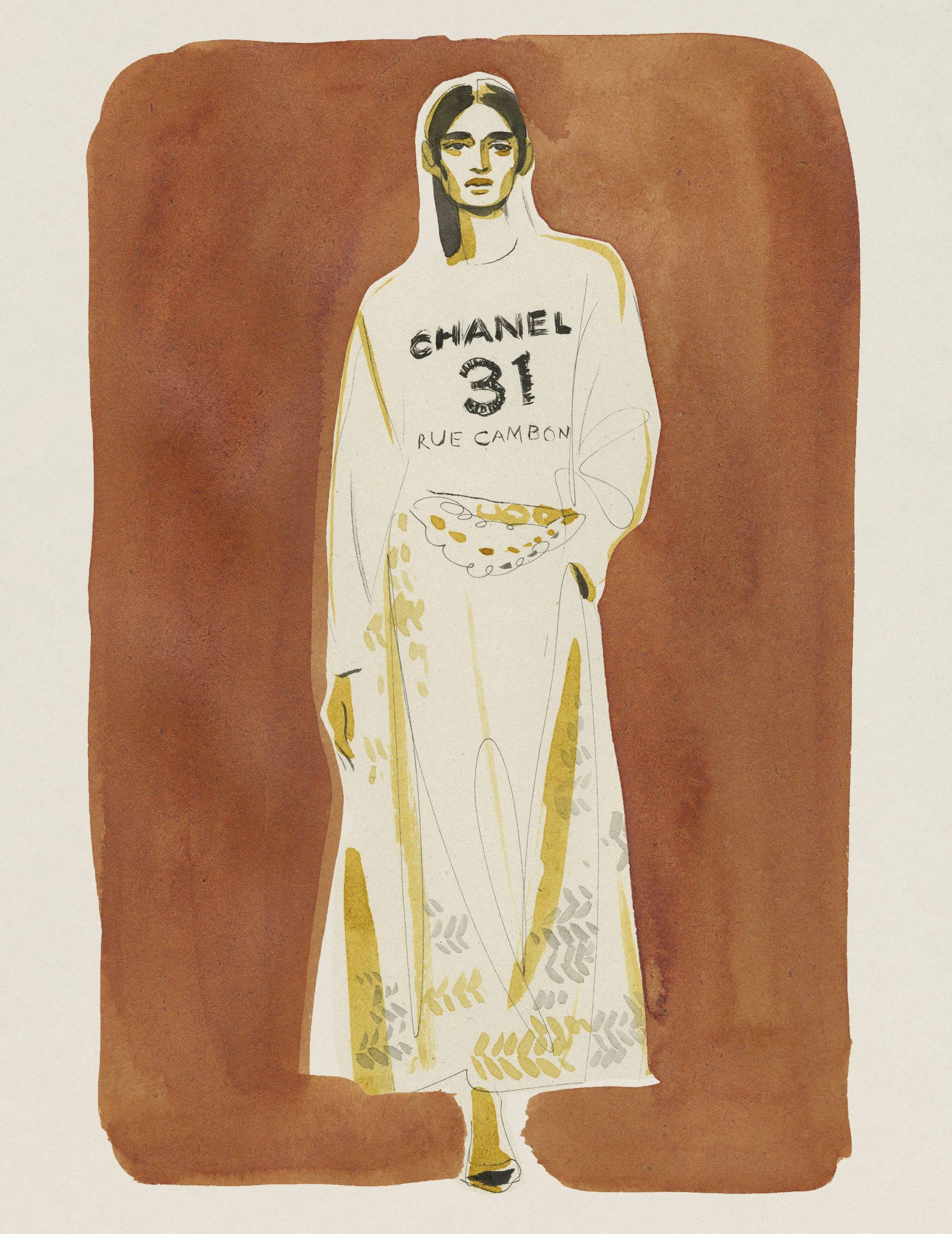Chanel illustrated cover brown drawing