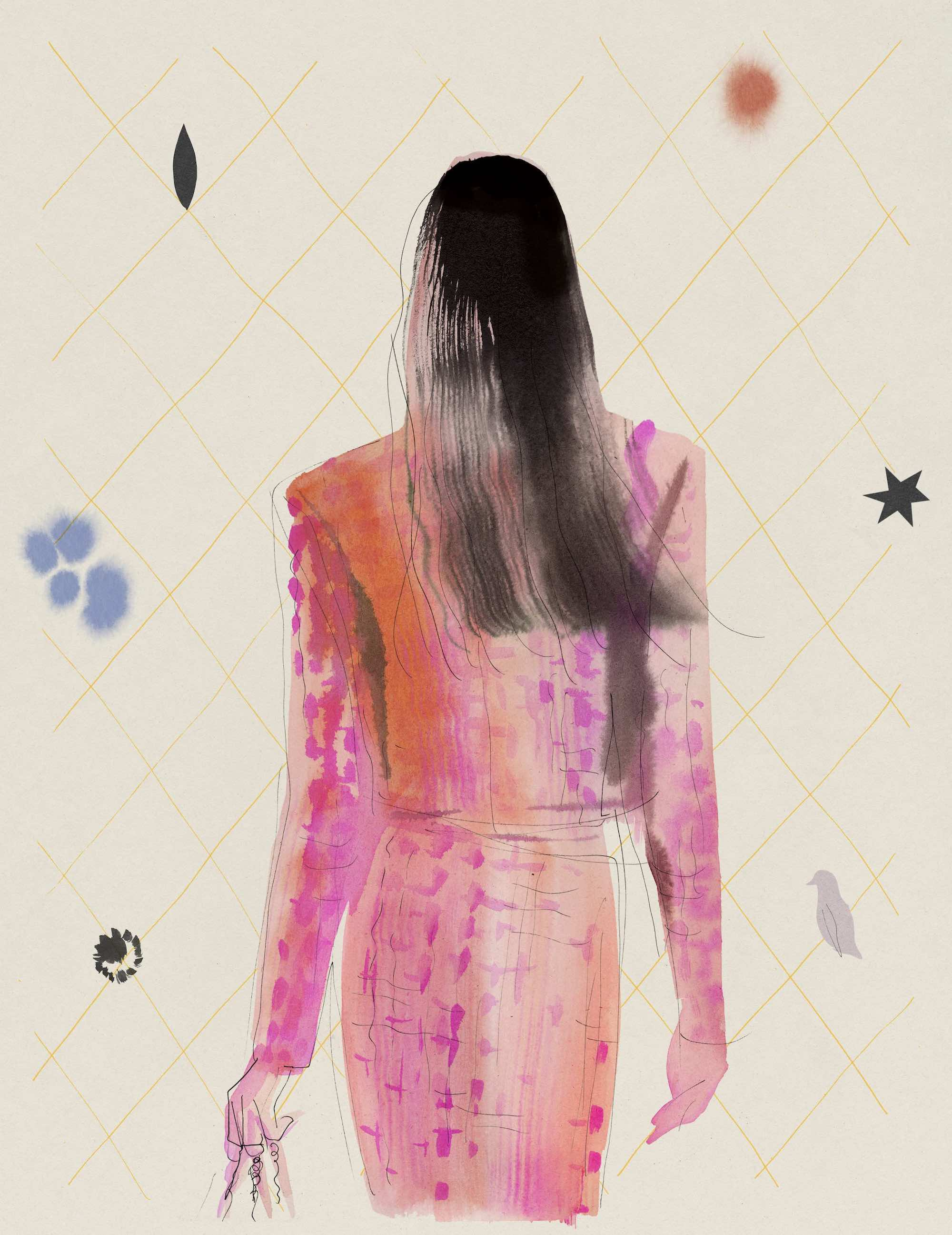 Chanel illustrated cover pink and orange suit
