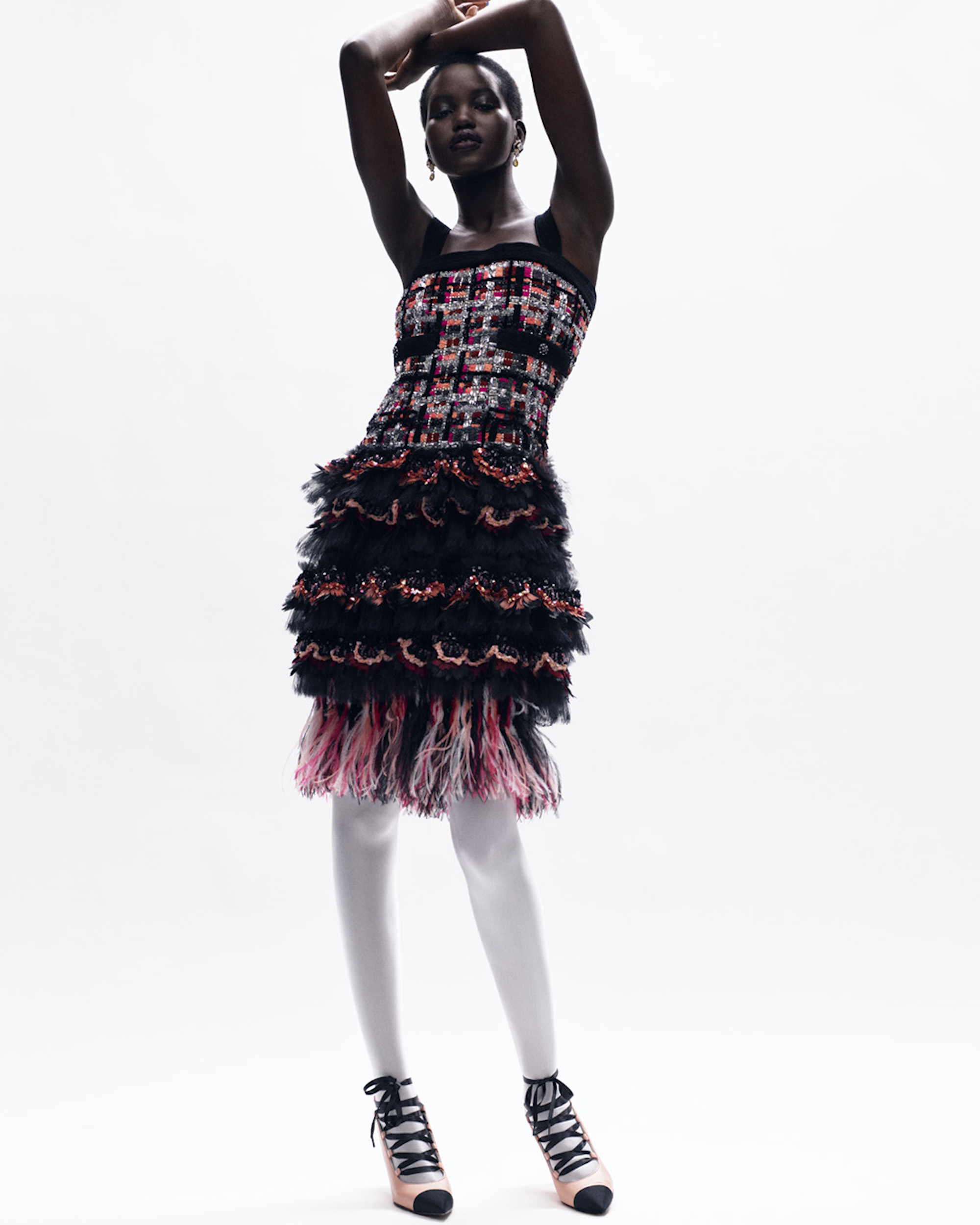 Chanel Haute Couture AW20/21 collection pink and black ruffle tweed dress