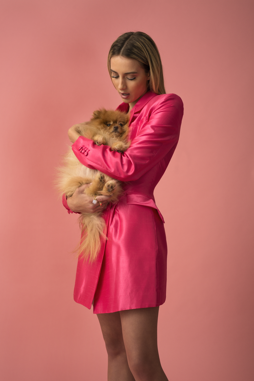 Erim Bloomer pink dress with dog