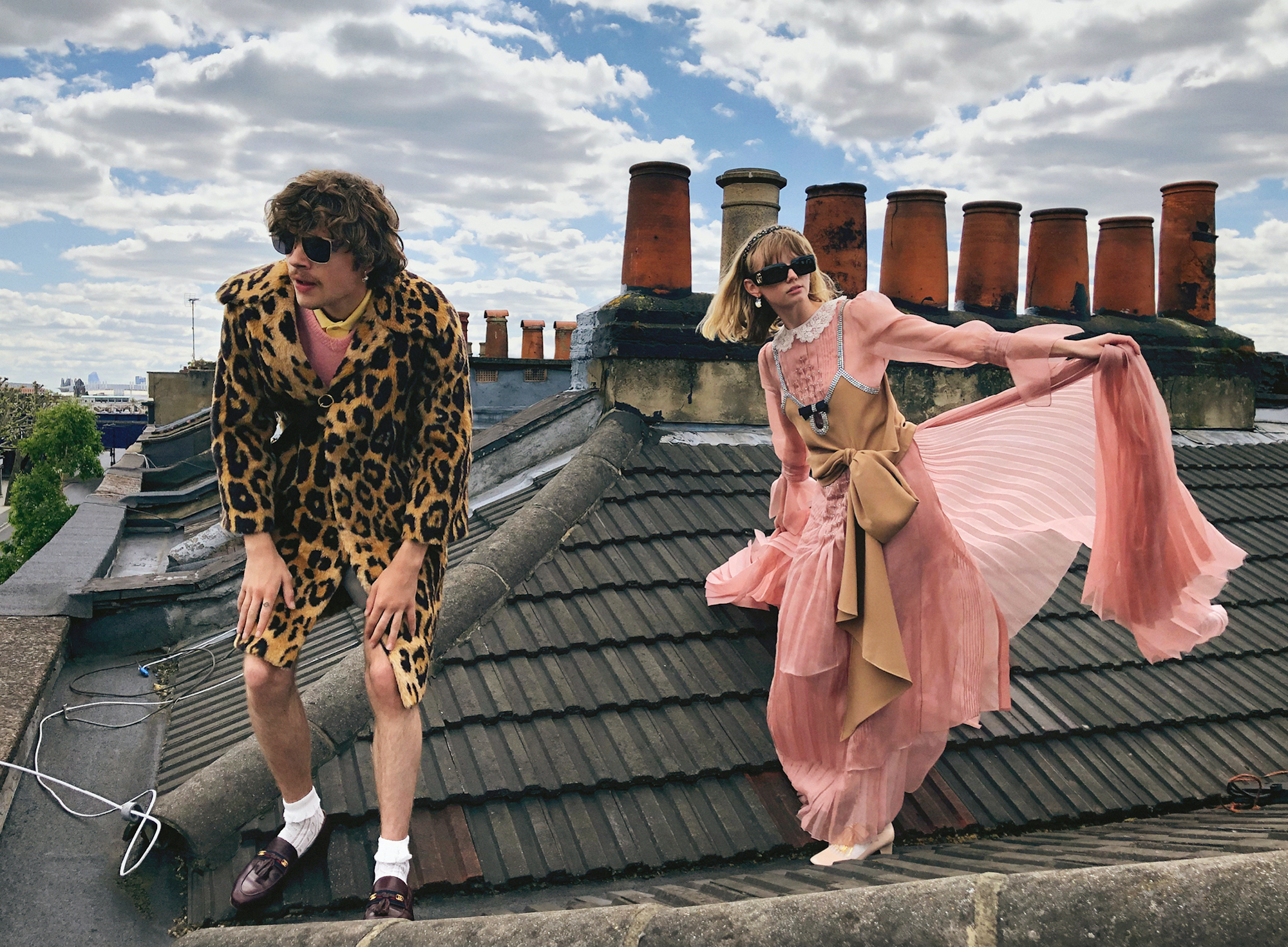 Gucci AW20 campaign two models on roof