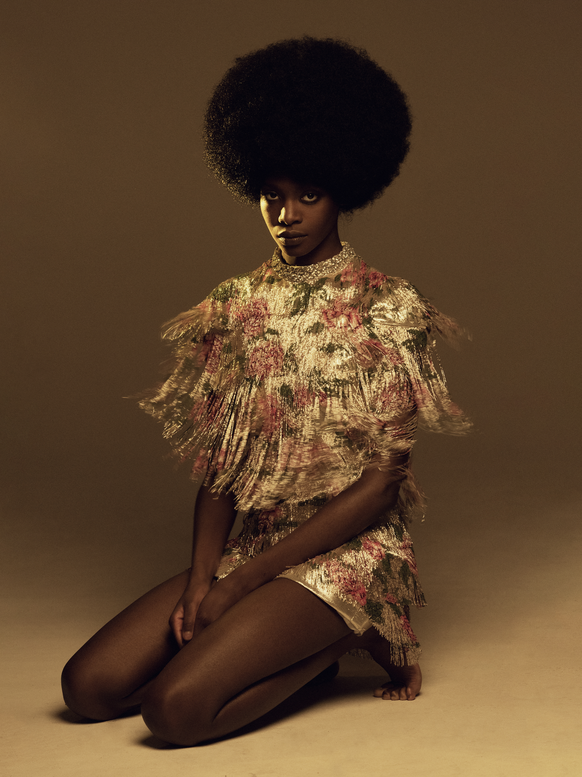 floral ruffle dress golden hue fashion editorial