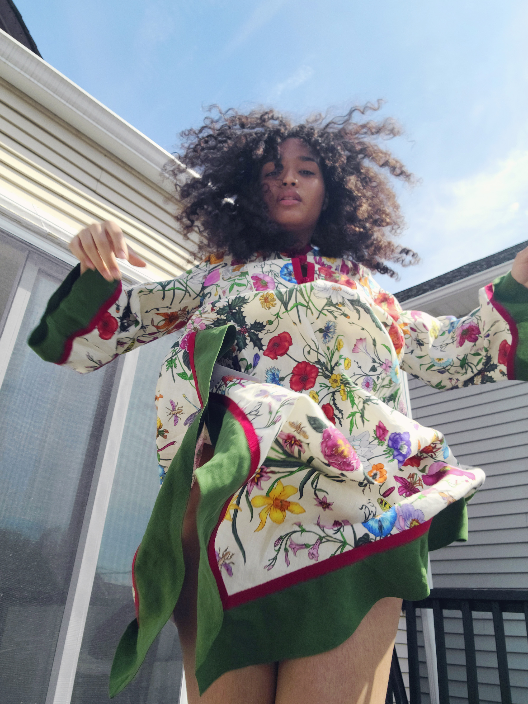 Indya Moore in Gucci flower print dress Indya Moore in Gucci flower print dress
