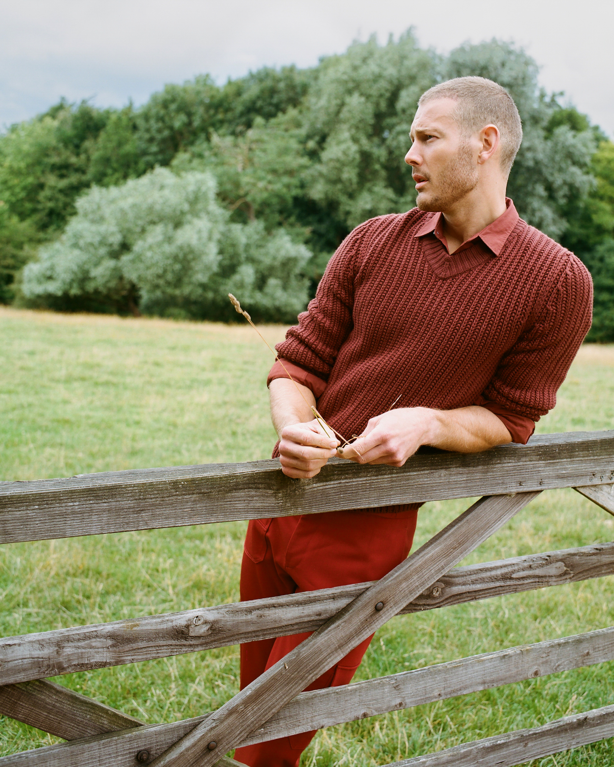 Tom Hopper for Man About Town red outfit