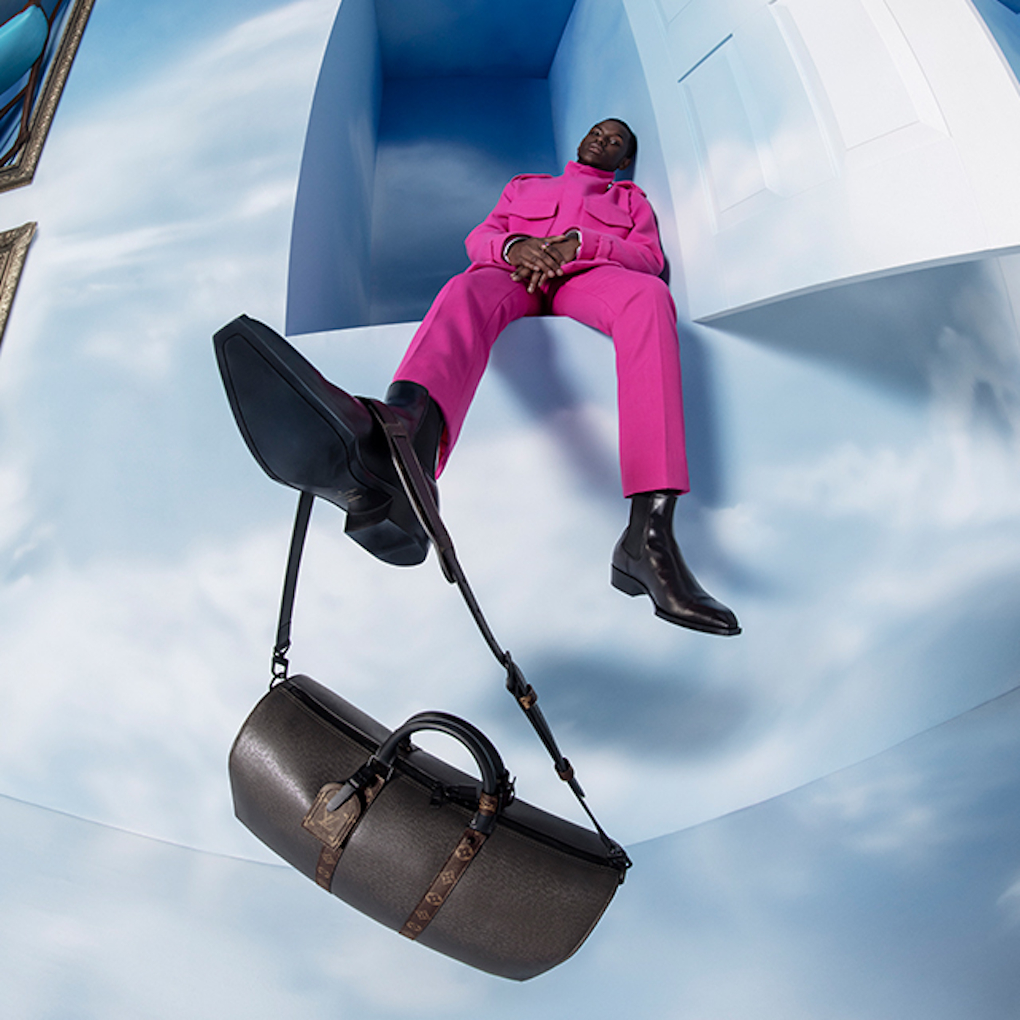 Michael Ward in Louis Vuitton Men's Collection by Virgil Abloh Fall-Winter 2020 foot up