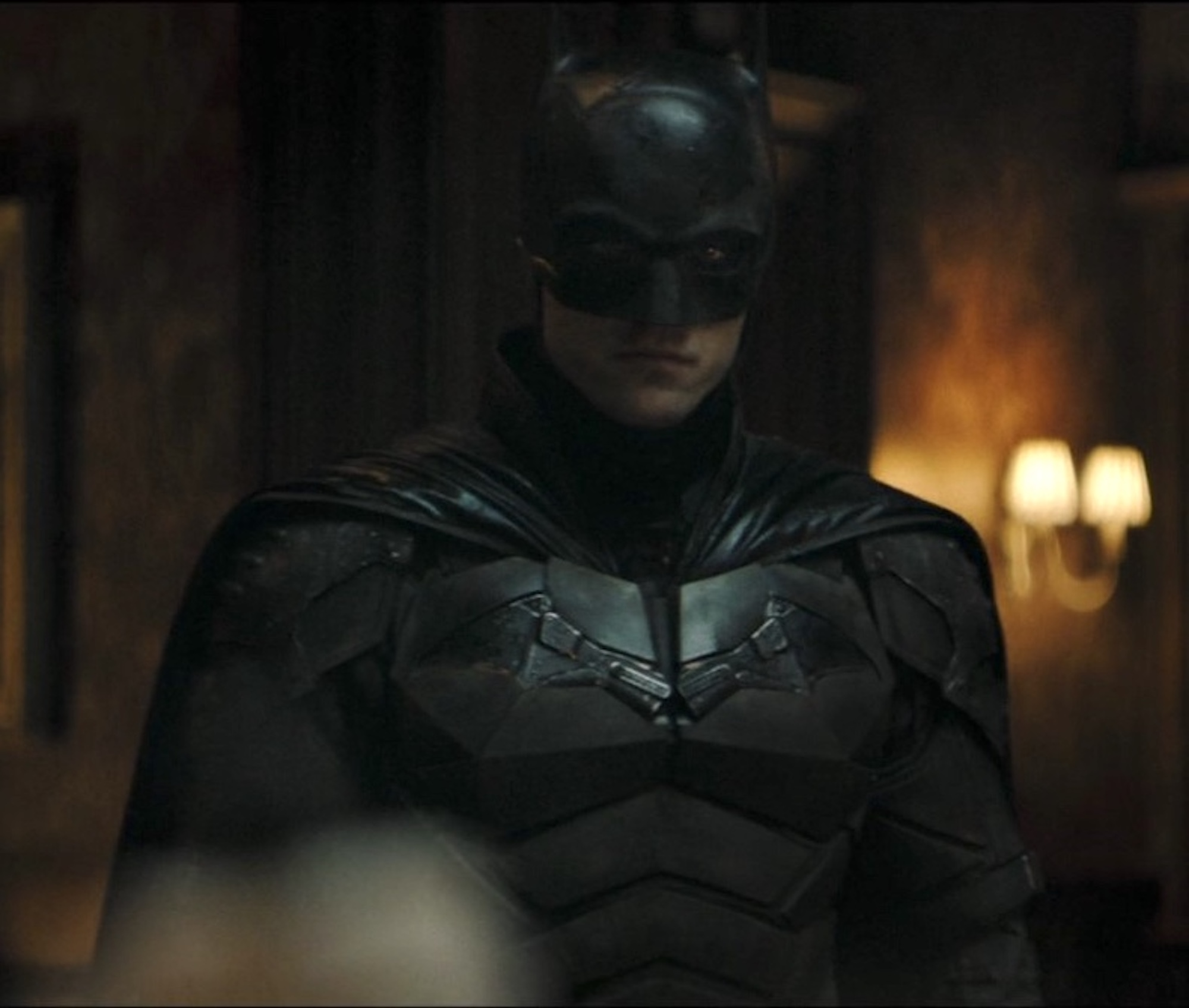 Robert Pattinson in the new Batman trailer suit