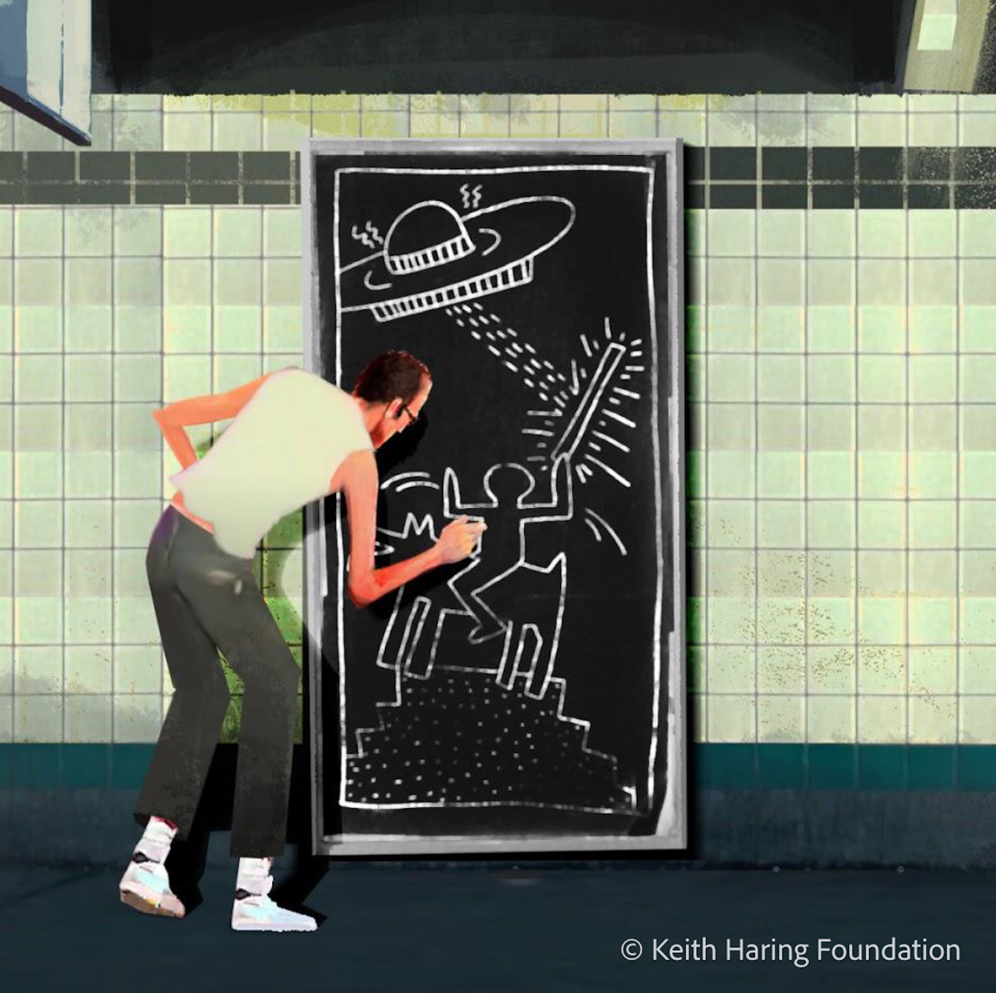 Keith Haring Adobe subway chalk