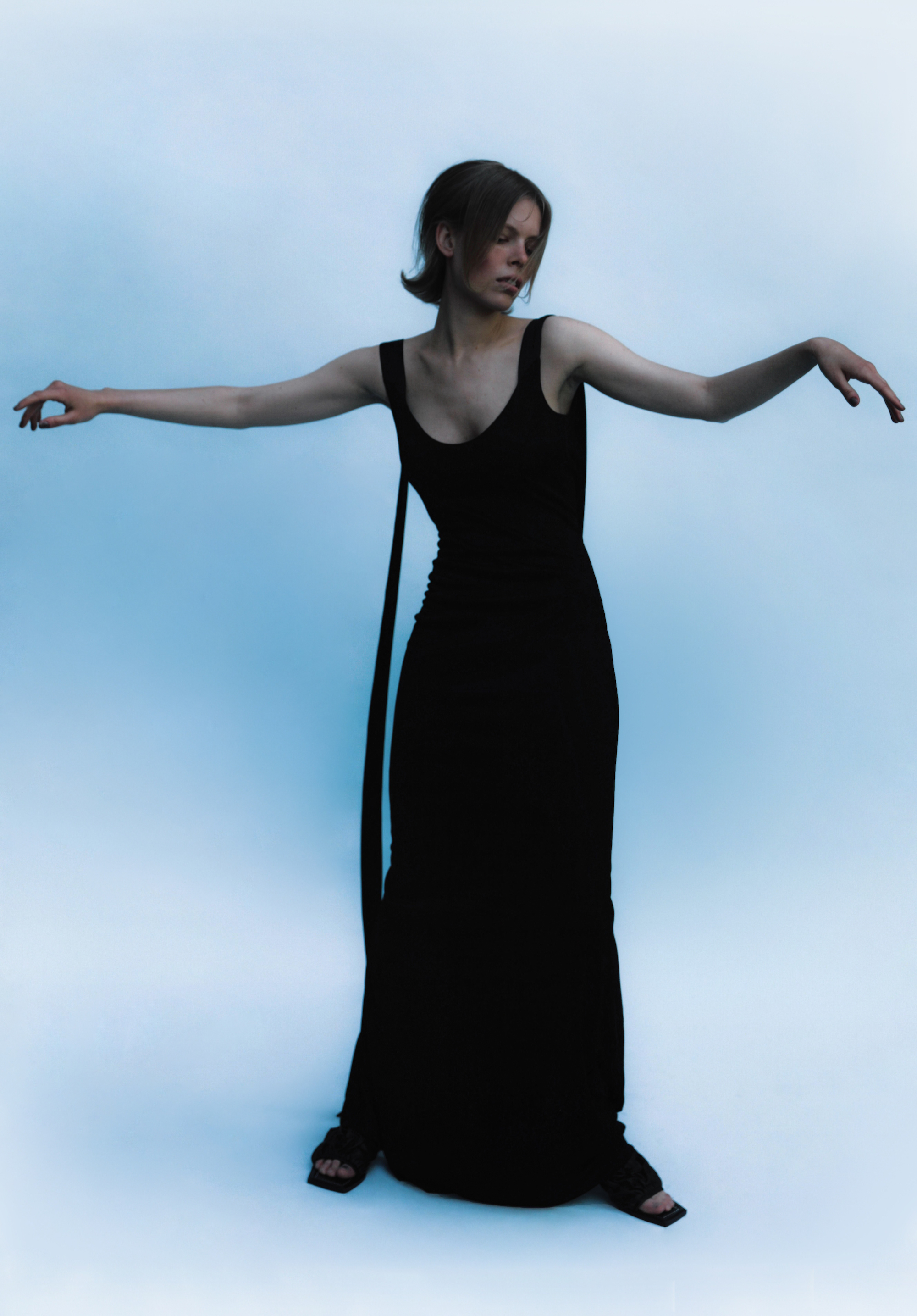 woman wearing Long black dress