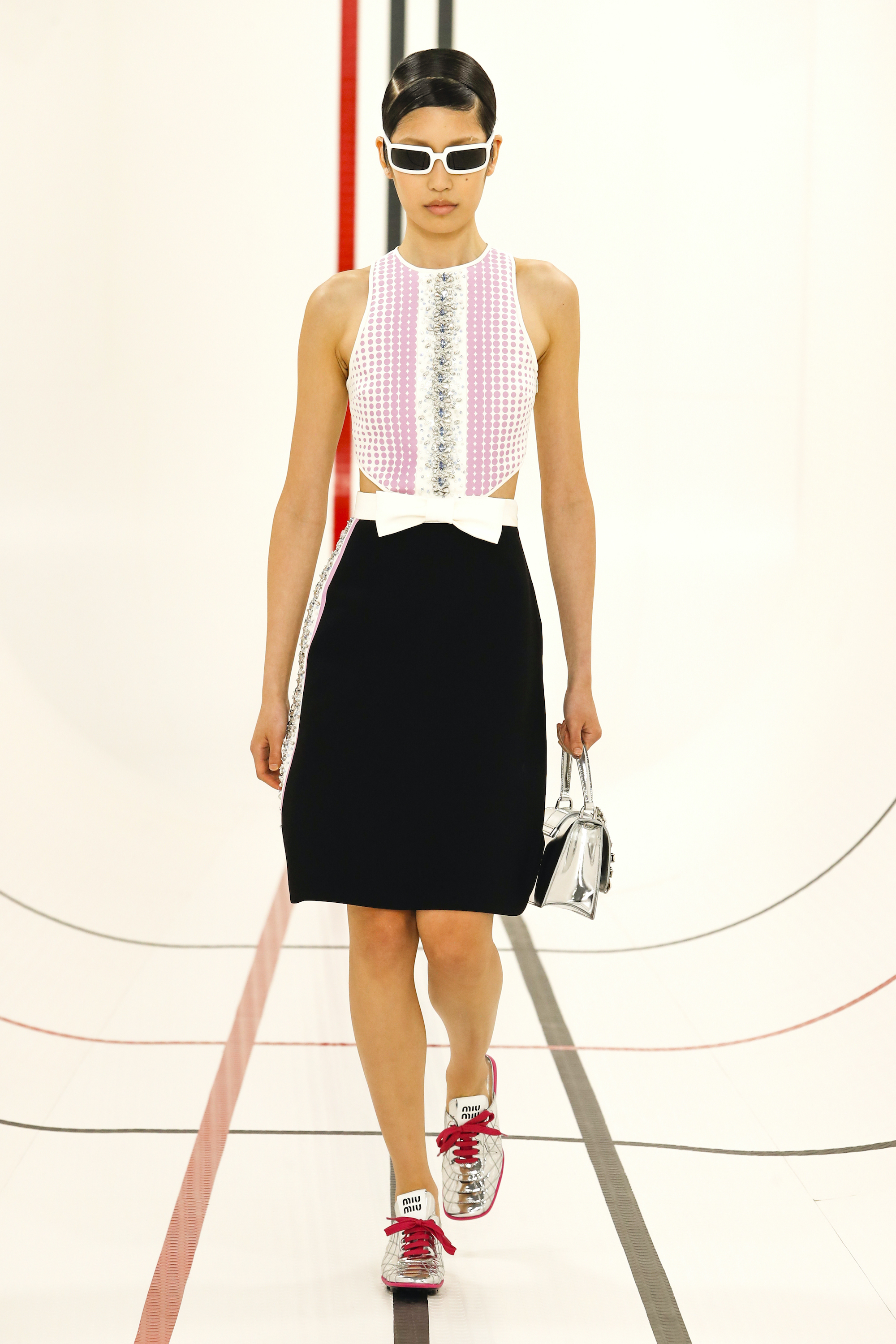 Miu Miu SS21 pink and white black skirt