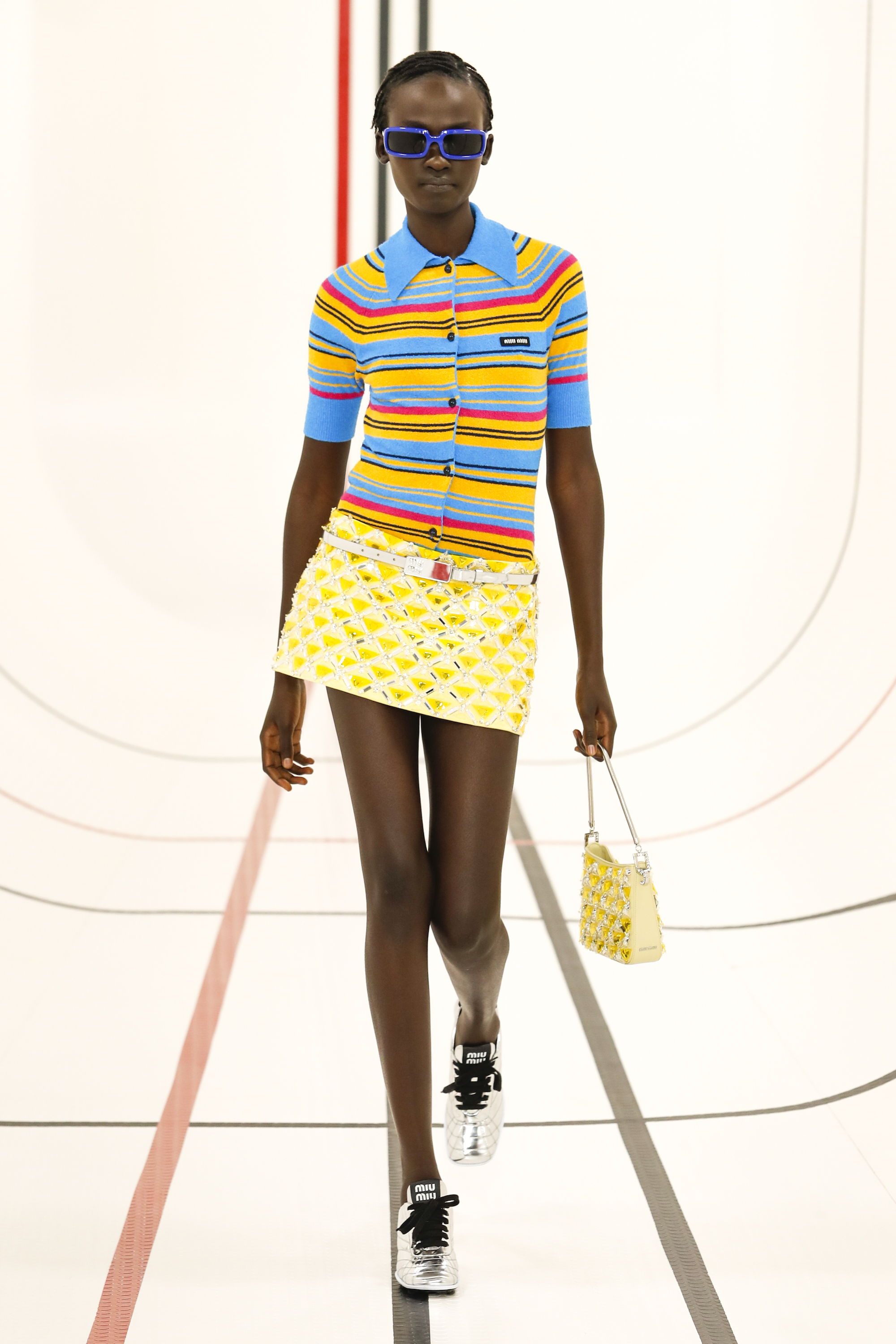 Miu Miu SS 21 yellow skirt multi-coloured top