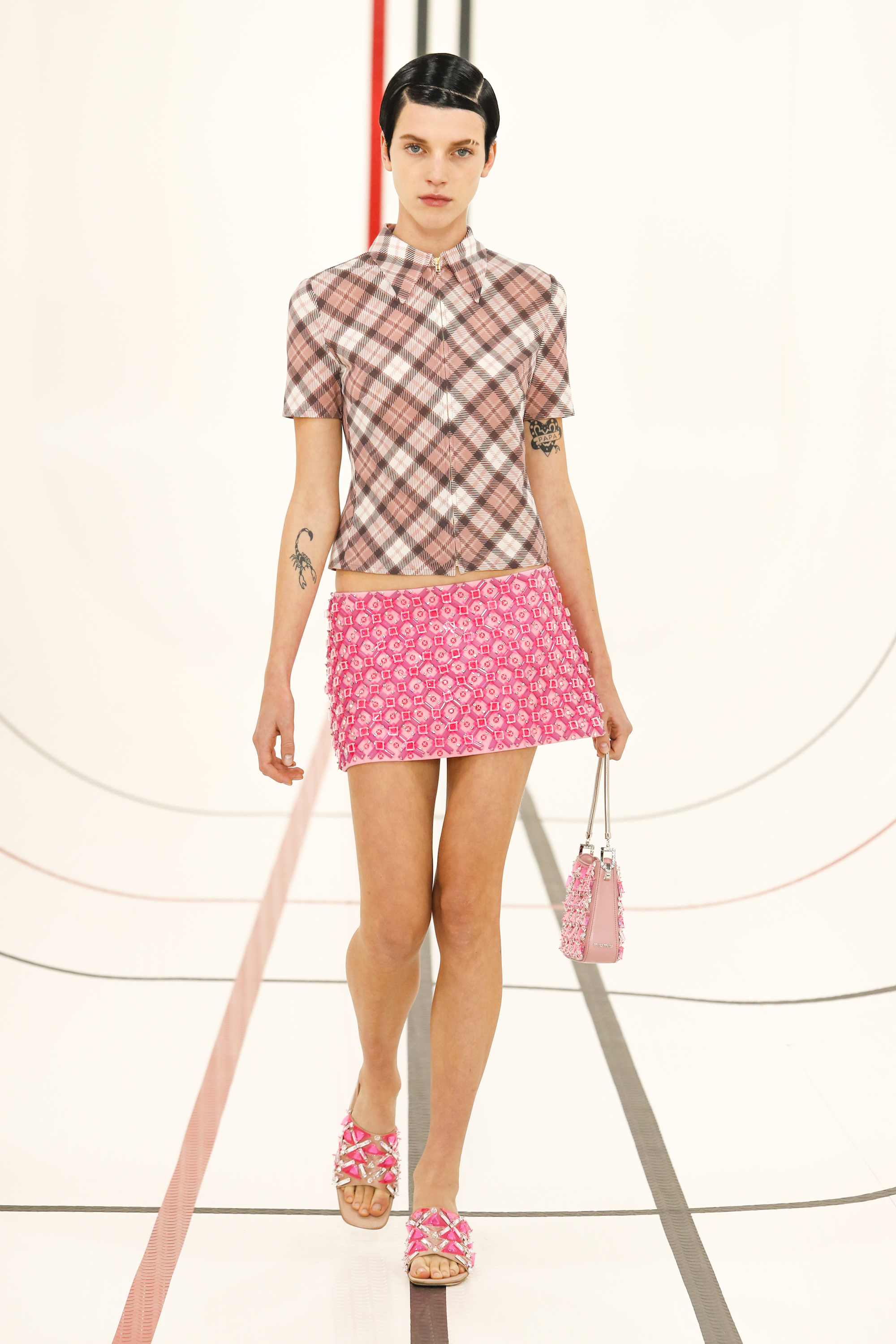 Miu Miu SS21 pink skirt and checked top