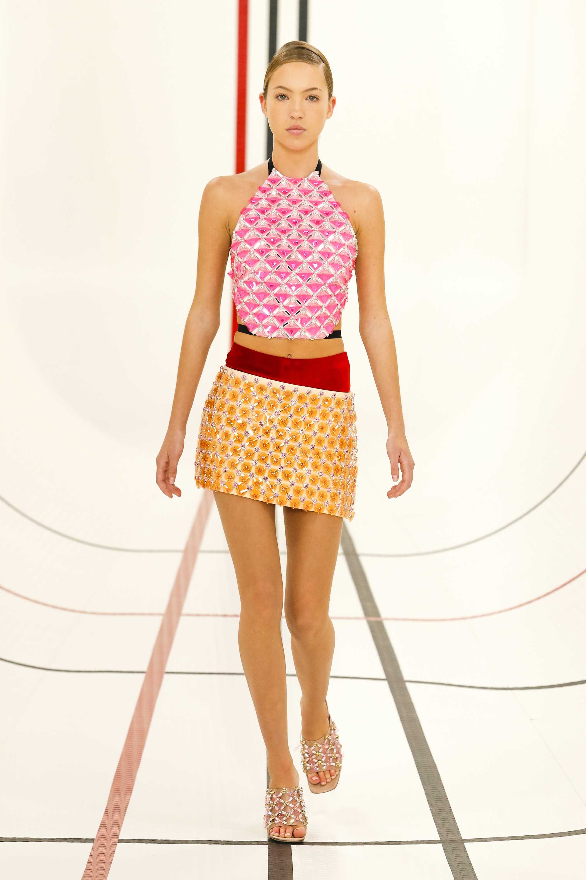 Miu Miu SS 21 yellow skirt and pink top Lila Moss