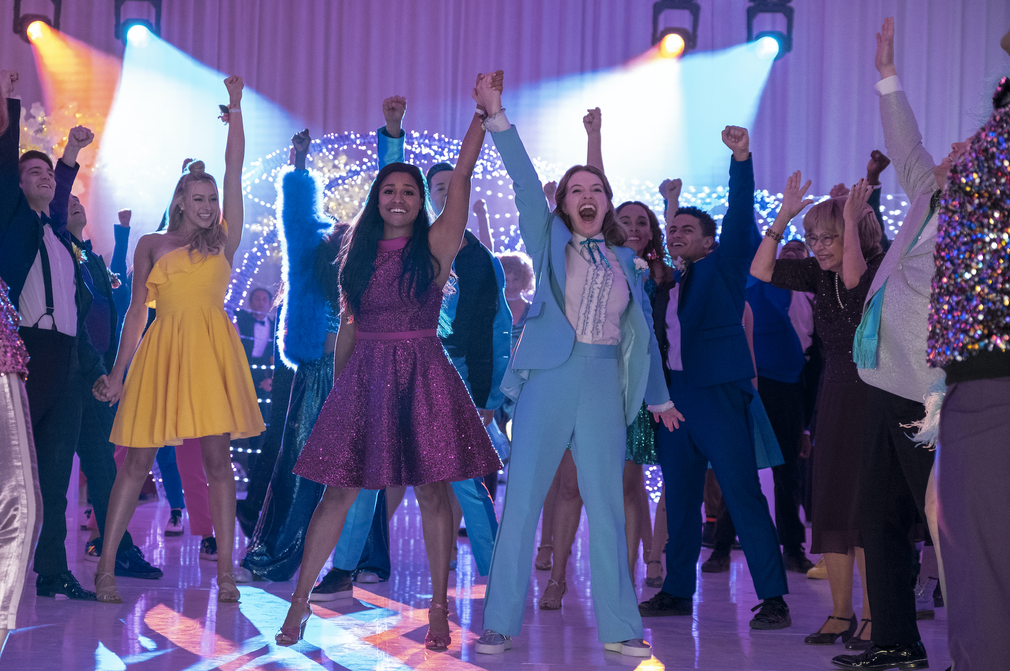 The Prom NICO GREETHAM as NICK, LOGAN RILEY HASSEL as KAYLEE, ARIANA DEBOSE as ALYSSA GREENE, ANDREW RANNELLS as TRENT OLIVER, JO ELLEN PELLMAN as EMMA, SOFIA DELER as SHELBY, NATHANIEL POTVIN as KEVIN, TRACEY ULLMAN as VERA, JAMES CORDEN as BARRY GLICKMAN in THE PROM.